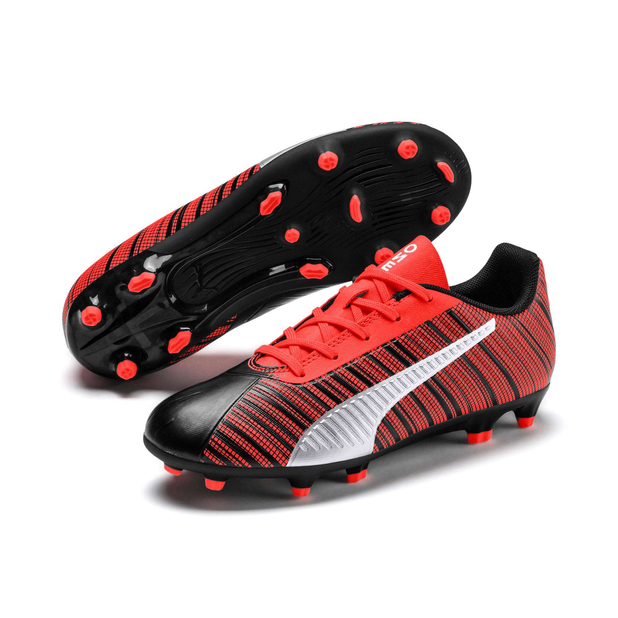PUMA ONE 5.4 IT Youth Football Boots, Black-Nrgy Red-Aged Silver, large