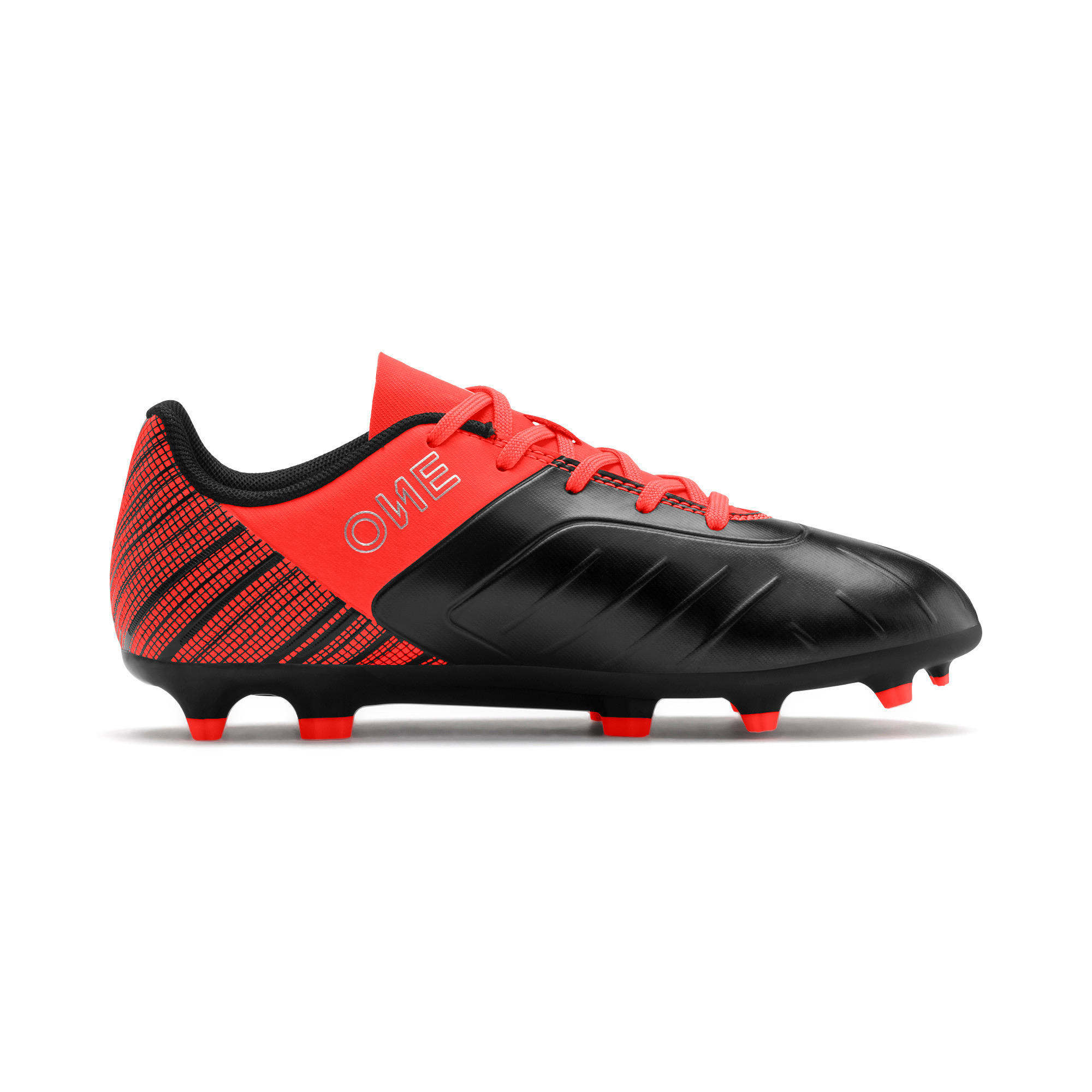 Thumbnail 5 of PUMA ONE 5.4 IT Youth Football Boots, Black-Nrgy Red-Aged Silver, medium-IND