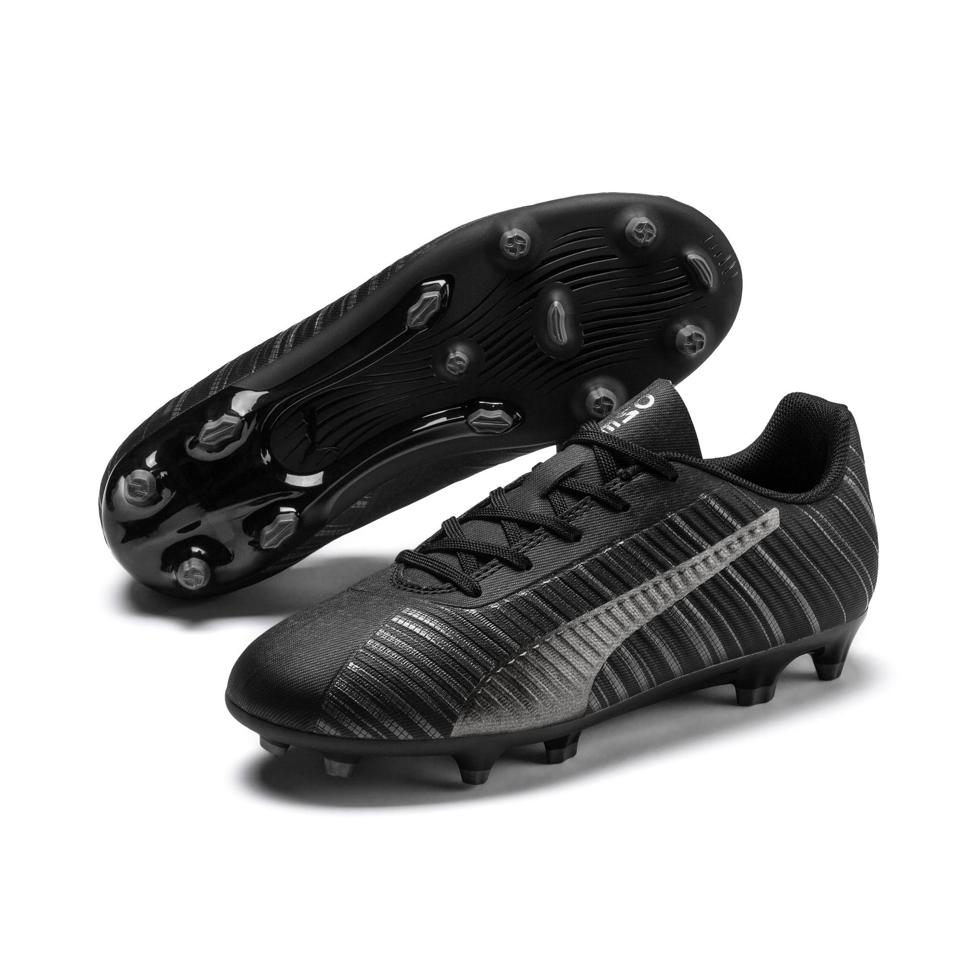 Thumbnail 2 of PUMA ONE 5.4 FG/AG Youth Fußballschuhe, Black-Black-Puma Aged Silver, medium