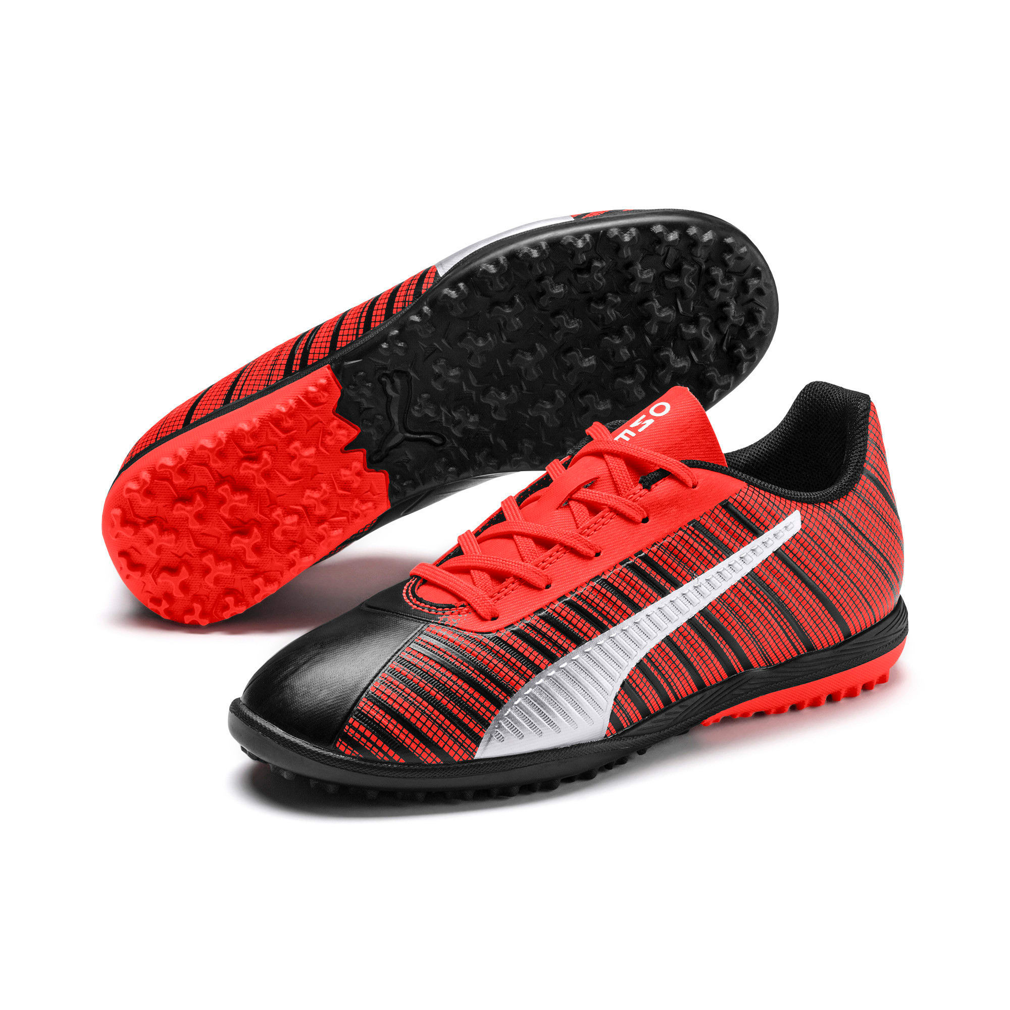 Thumbnail 2 of PUMA ONE 5.4 TT Soccer Shoes JR, Black-Nrgy Red-Aged Silver, medium