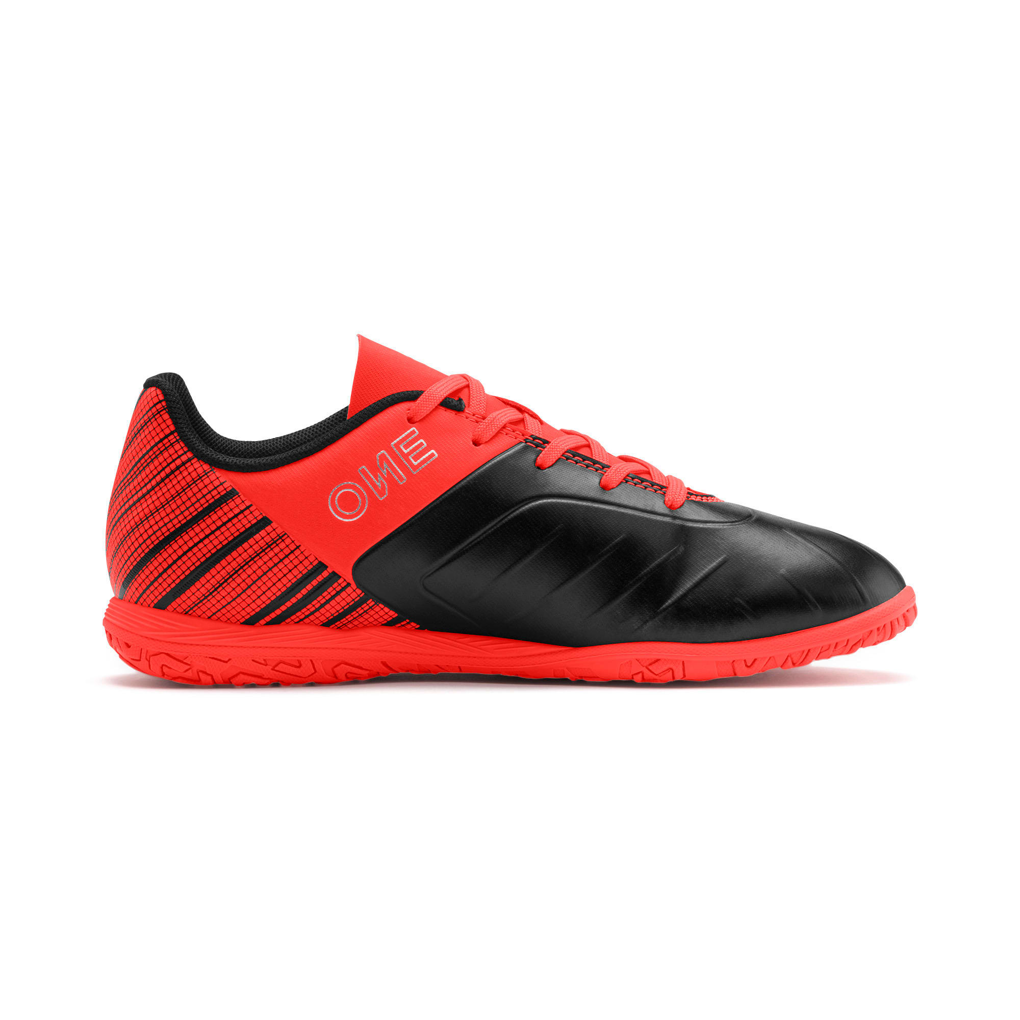 Thumbnail 5 of PUMA ONE 5.4 IT Soccer Shoes JR, Black-Nrgy Red-Aged Silver, medium