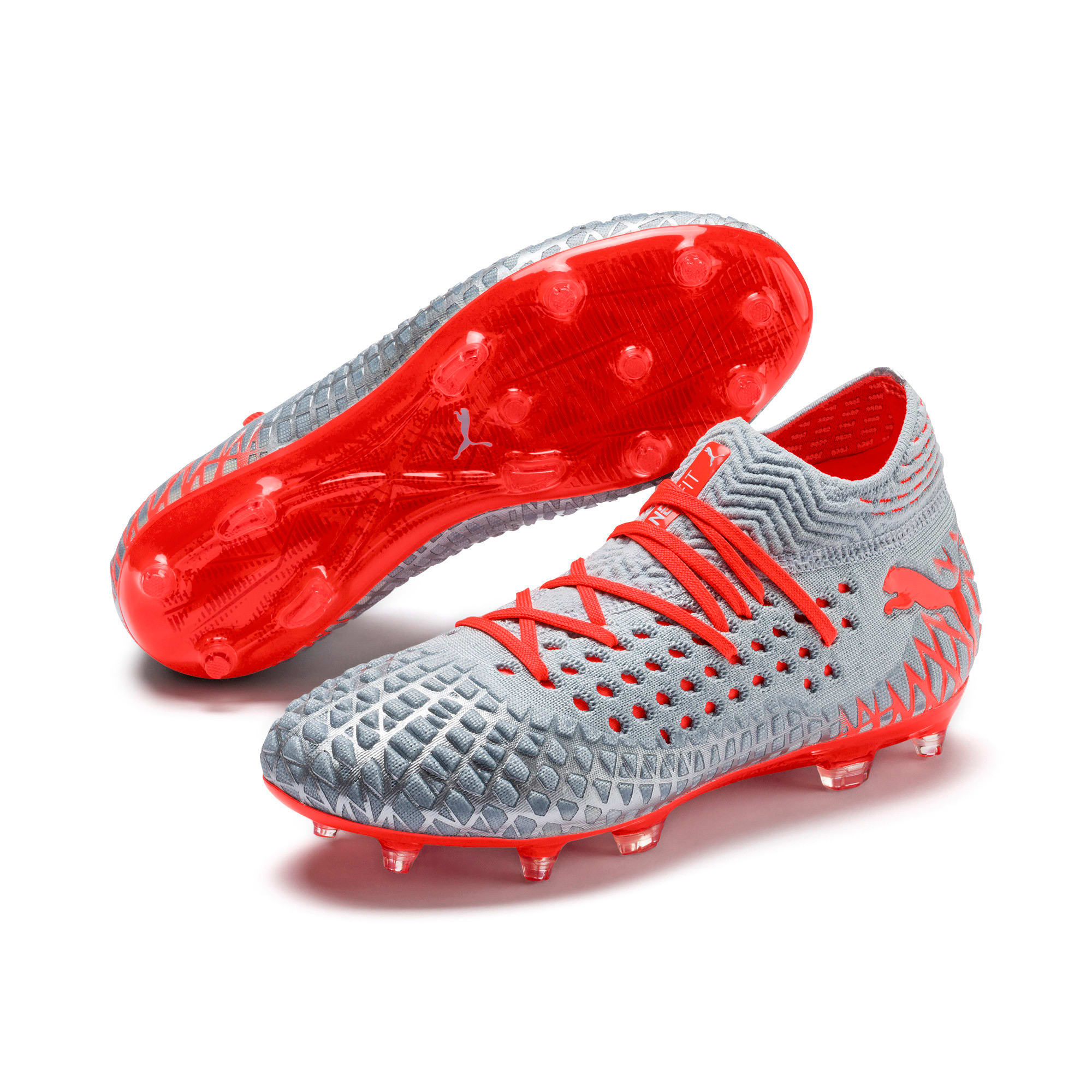 Thumbnail 2 of FUTURE 4.1 NETFIT Youth Football Boots, Blue-Nrgy Red-High Risk Red, medium