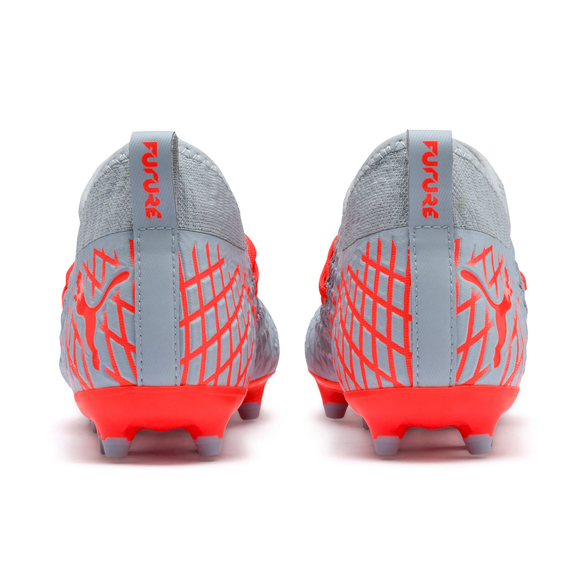 Thumbnail 3 of FUTURE 4.3 NETFIT FG/AG Soccer Cleats JR, Glacial Blue-Nrgy Red, medium