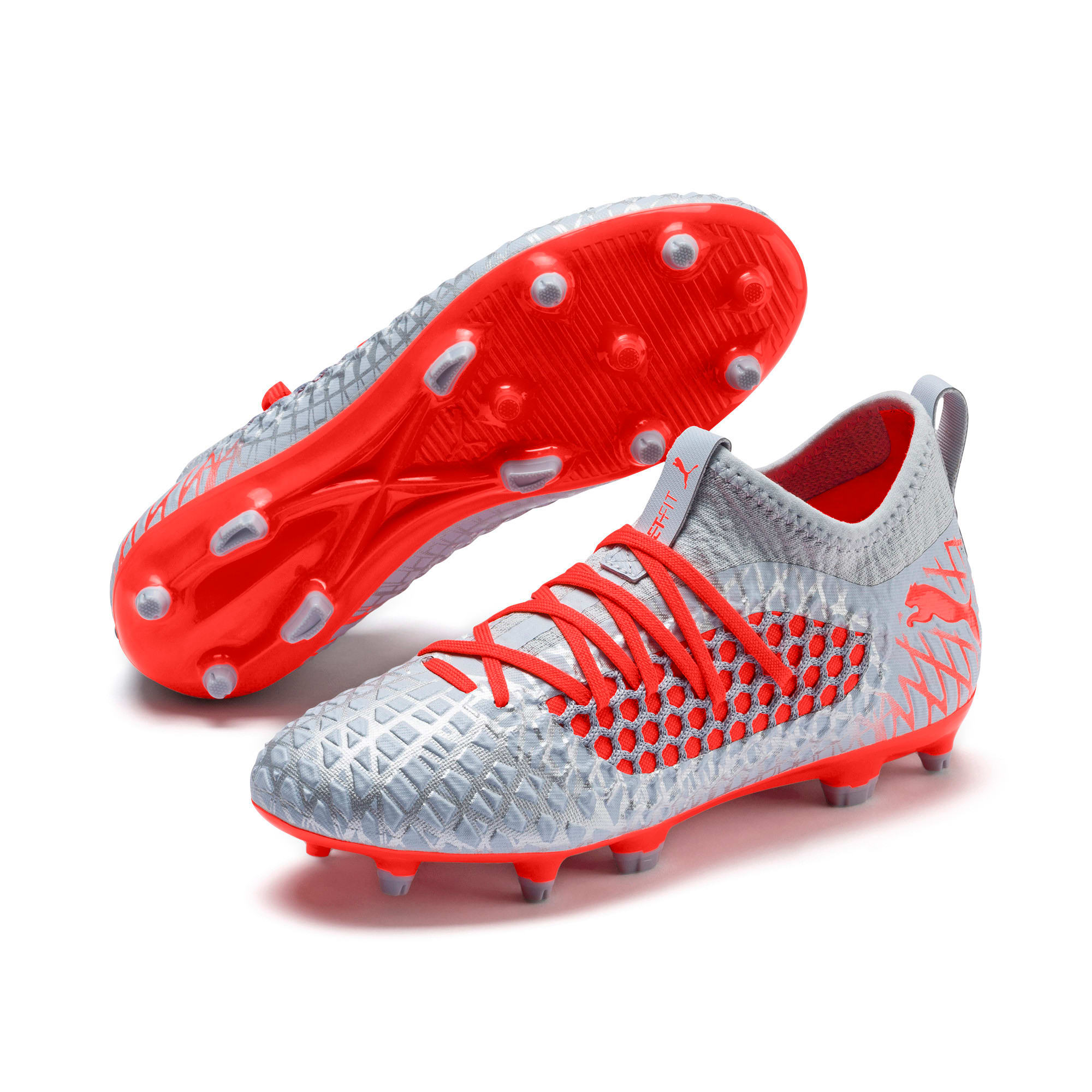 Thumbnail 2 of FUTURE 4.3 NETFIT Youth FG/AG Football Boots, Glacial Blue-Nrgy Red, medium