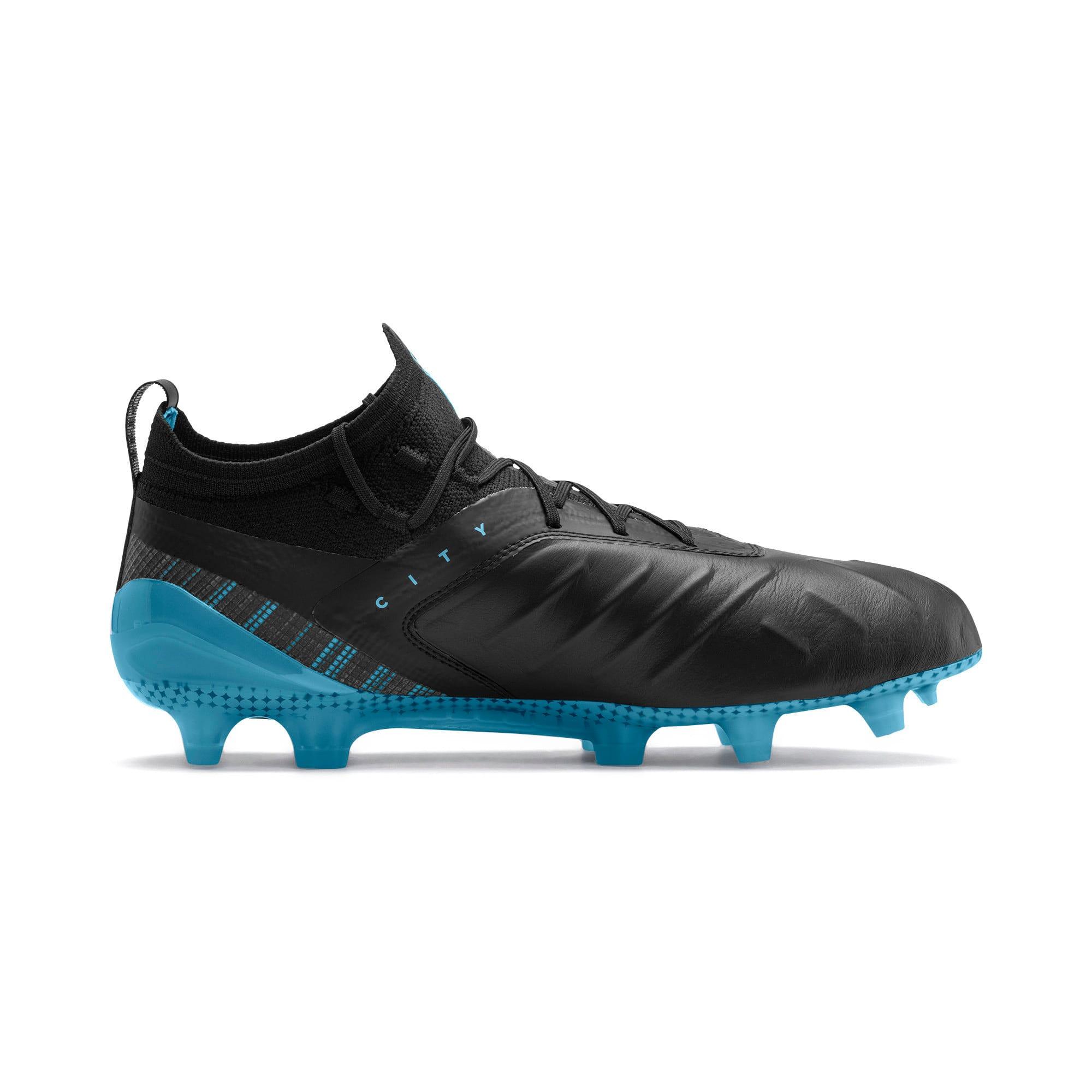 Thumbnail 6 of PUMA ONE 5.1 City FG/AG Men's Soccer Cleats, Black-Sky Blue-Silver, medium