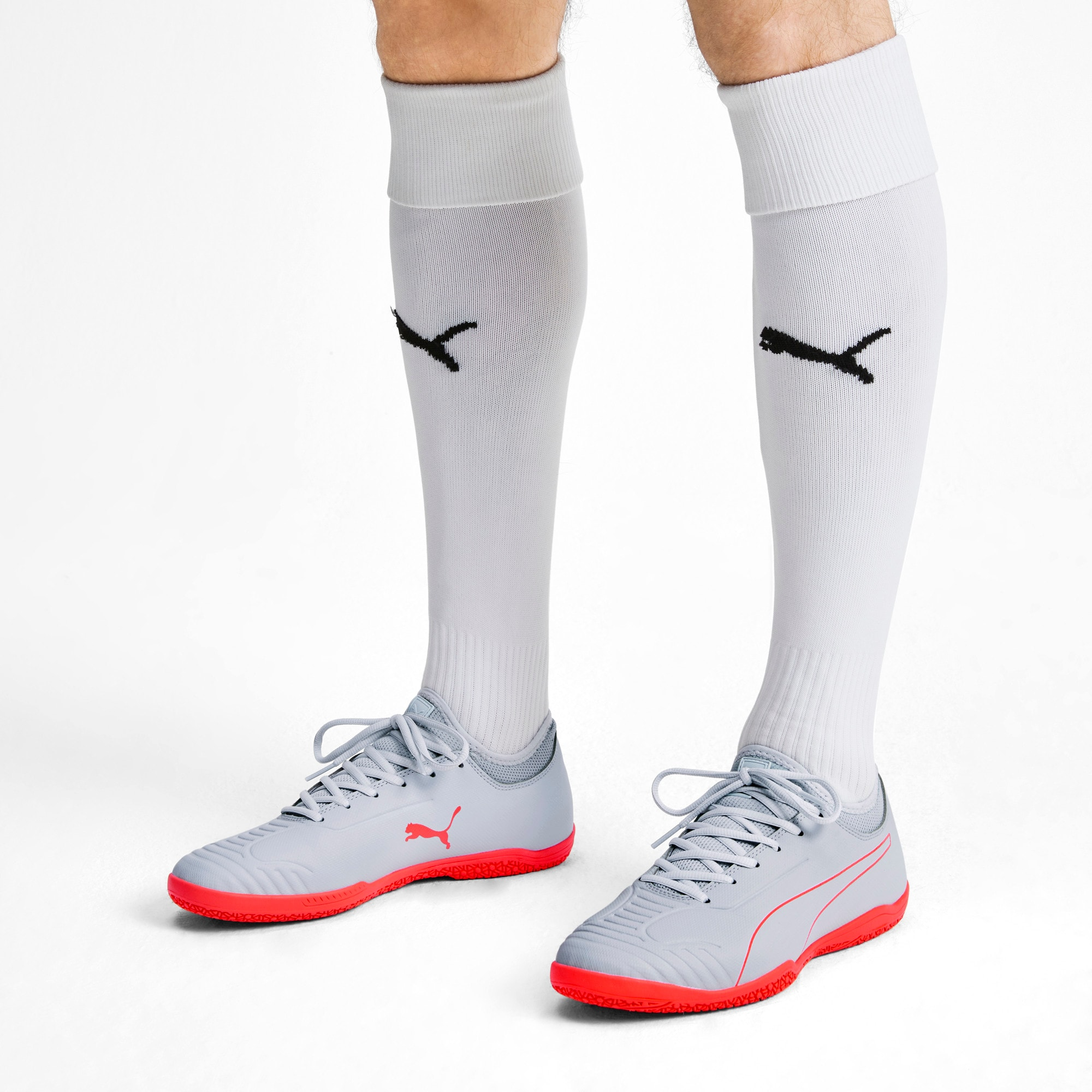 Thumbnail 3 of 365 Sala 2 Men's Soccer Shoes, Grey Dawn-Nrgy Red, medium