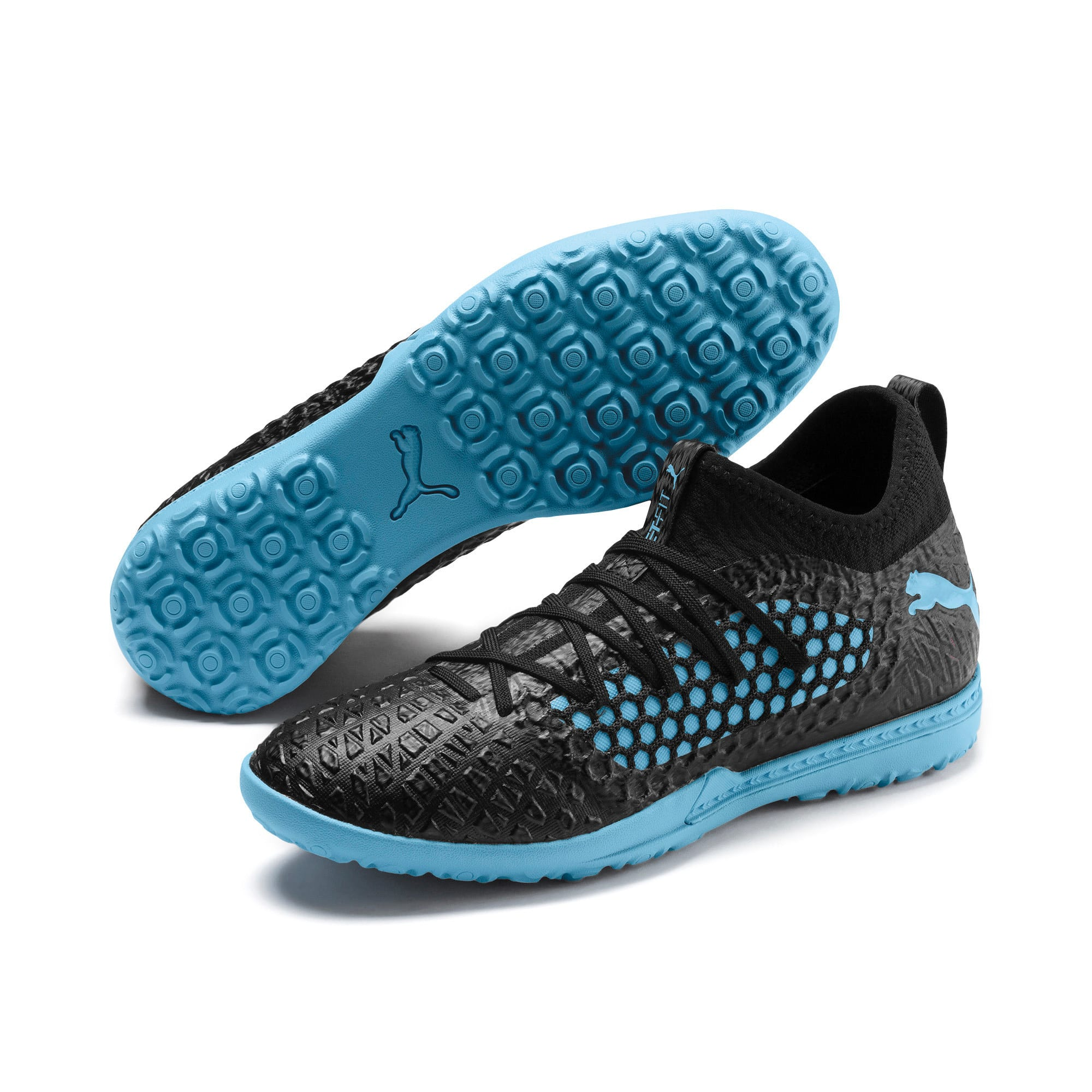 Thumbnail 3 of FUTURE 4.3 NETFIT City TT Men's Soccer Shoes, Black-Sky Blue-Puma White, medium