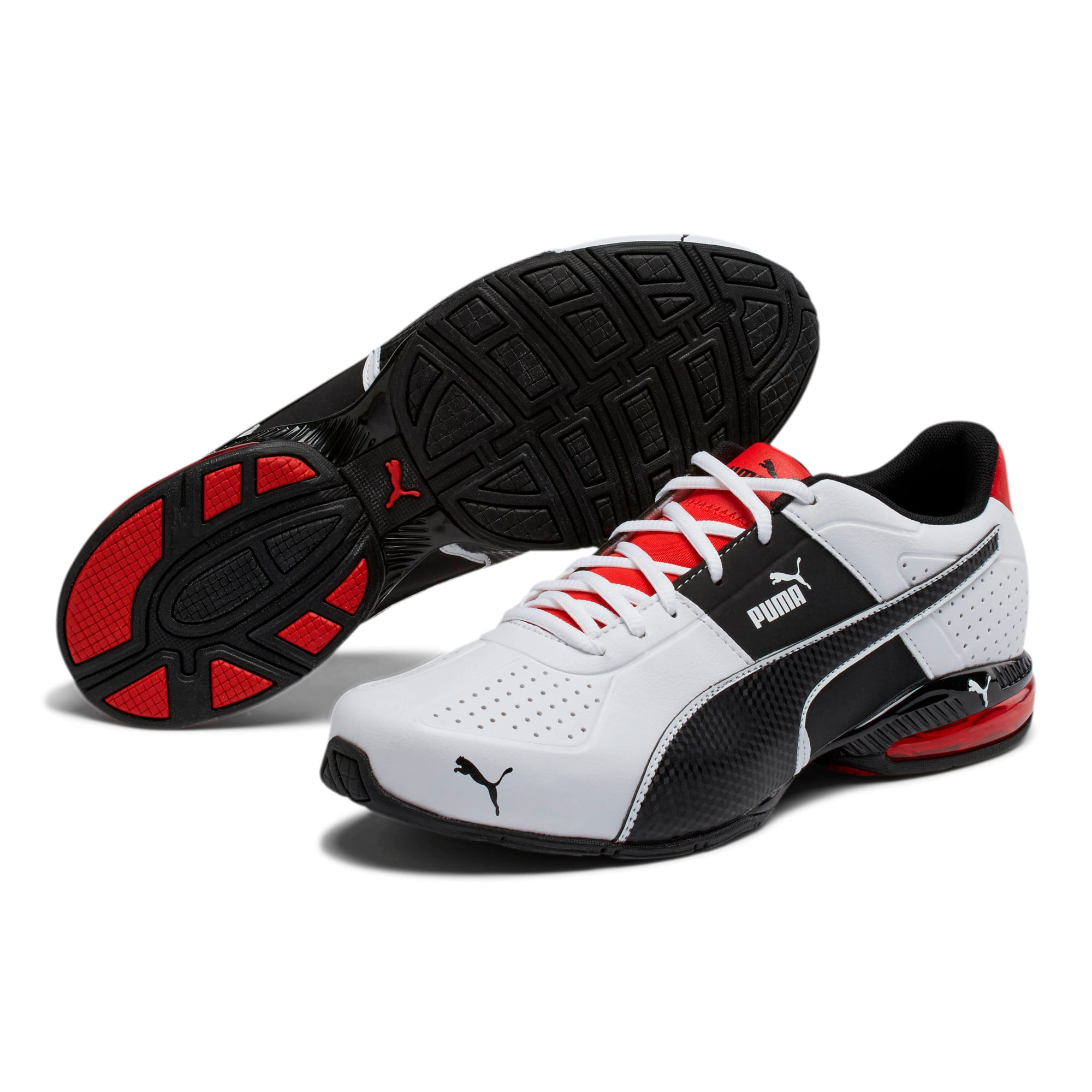 Thumbnail 2 of CELL Surin 2 FM Men's Running Shoes, White-Black-flame scarlet, medium