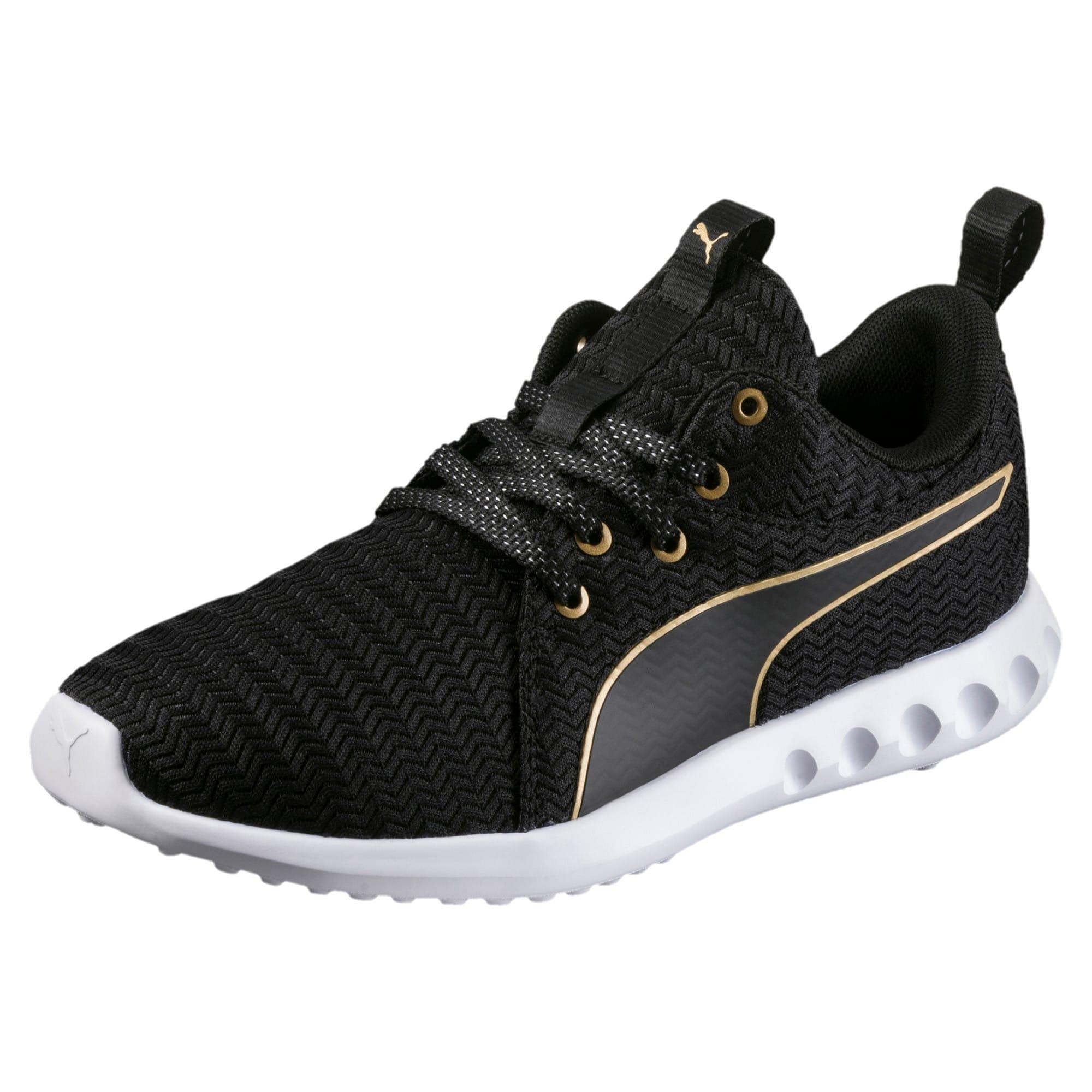 Thumbnail 1 of Carson 2 Metallic Women's Running Shoes, Puma Black-Gold, medium