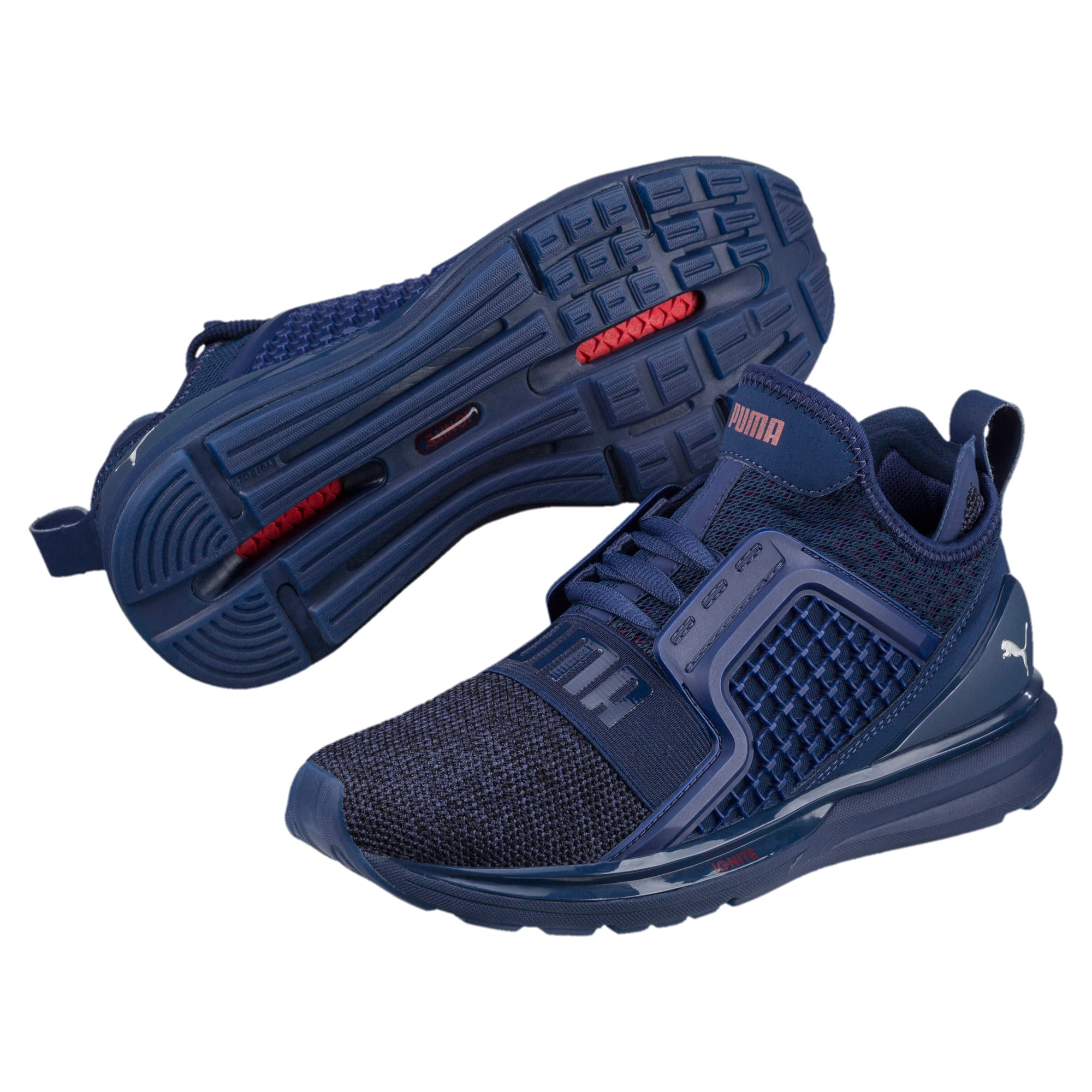 Thumbnail 2 of IGNITE Limitless Knit Kids' Trainers, Blue Depths-Toreador, medium-IND