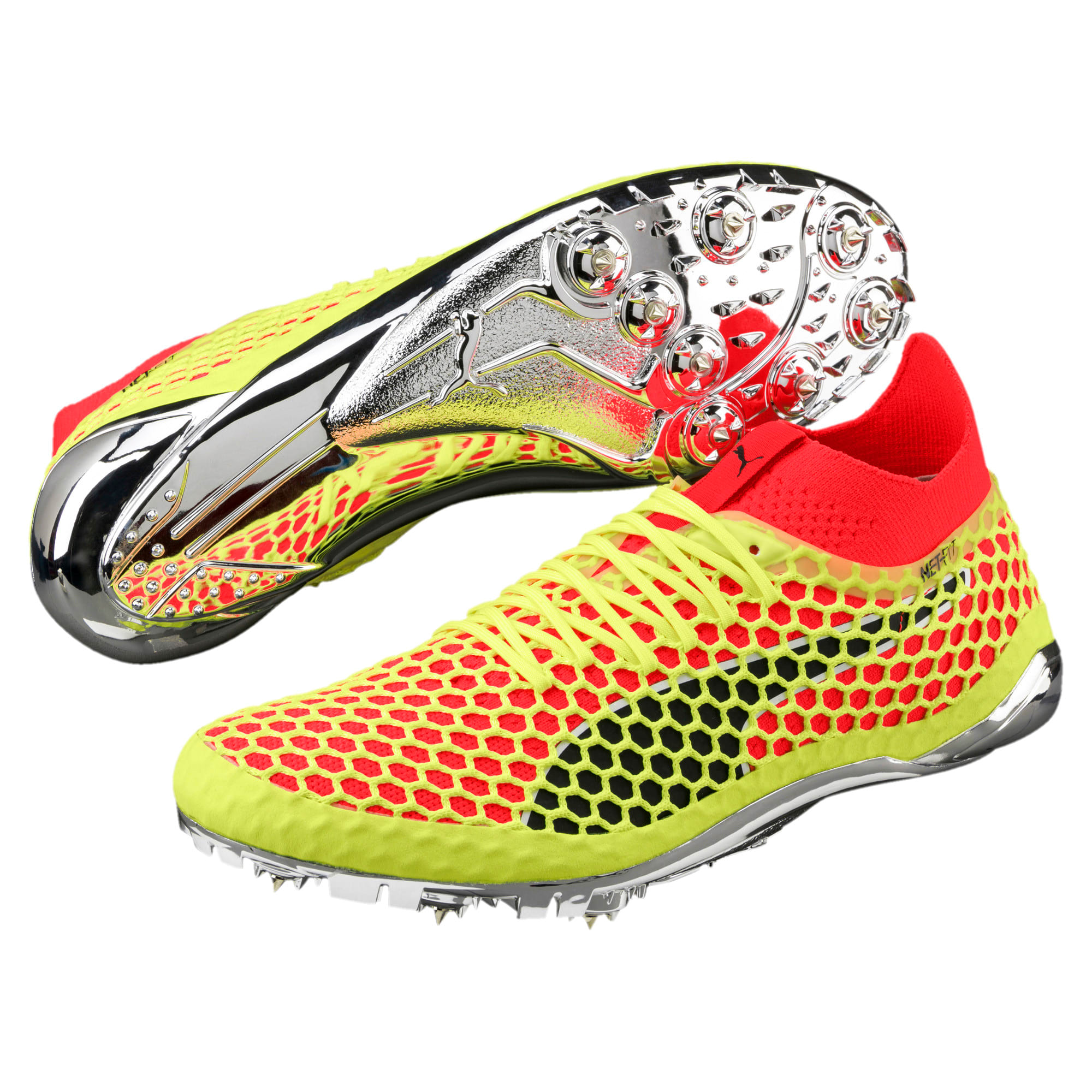 Thumbnail 2 of evoSPEED NETFIT Sprint Running Shoes, Fizzy Yellow-Red Blast-Black, medium