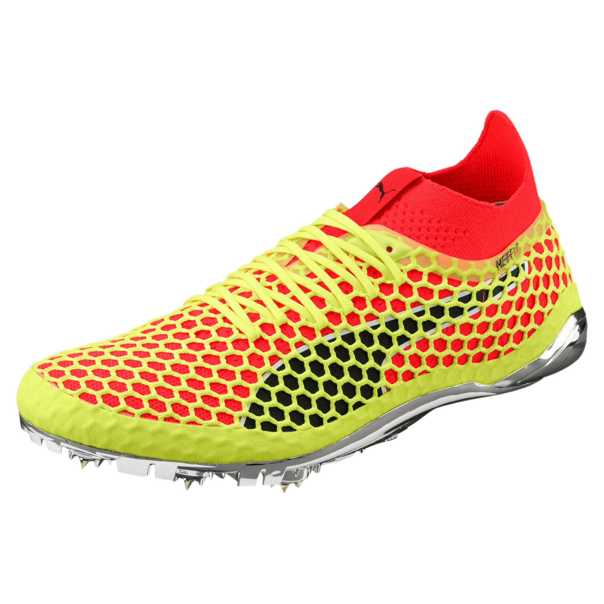 Thumbnail 1 of evoSPEED NETFIT Sprint Running Shoes, Fizzy Yellow-Red Blast-Black, medium