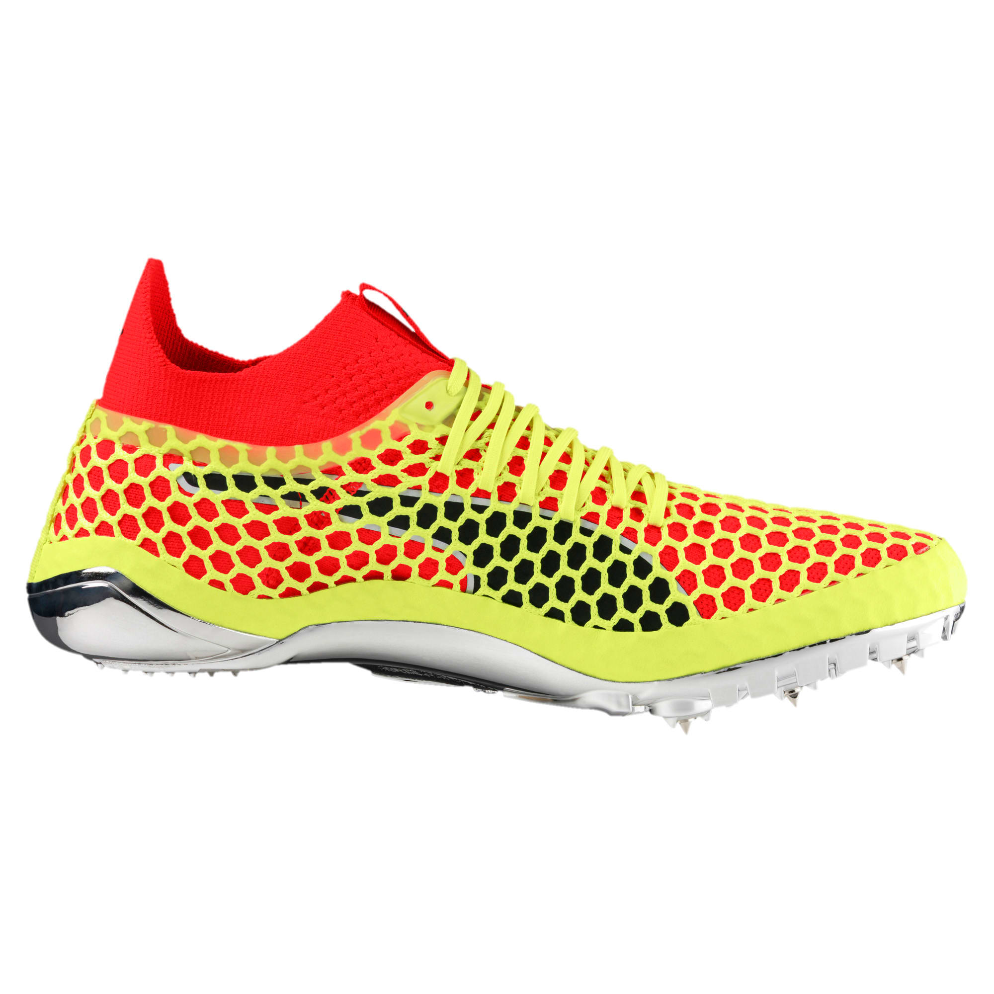 Thumbnail 3 of evoSPEED NETFIT Sprint Running Shoes, Fizzy Yellow-Red Blast-Black, medium
