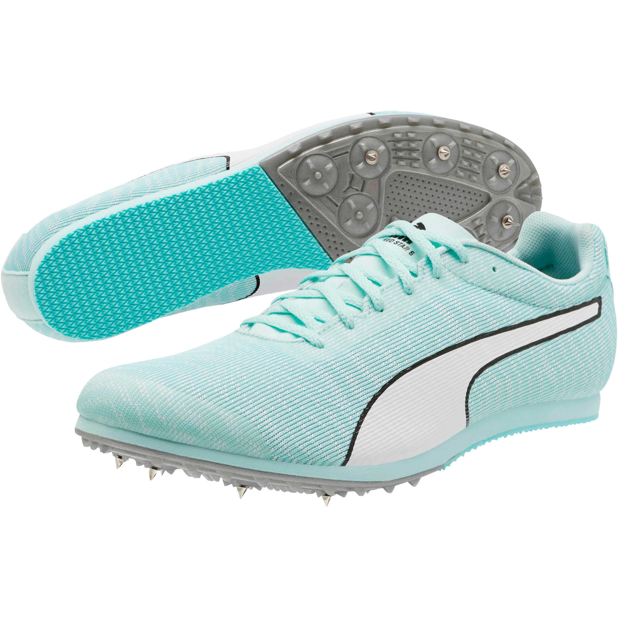 Thumbnail 2 of evoSPEED Star 6 Men's Track Spikes, Fair Aqua-Puma White, medium