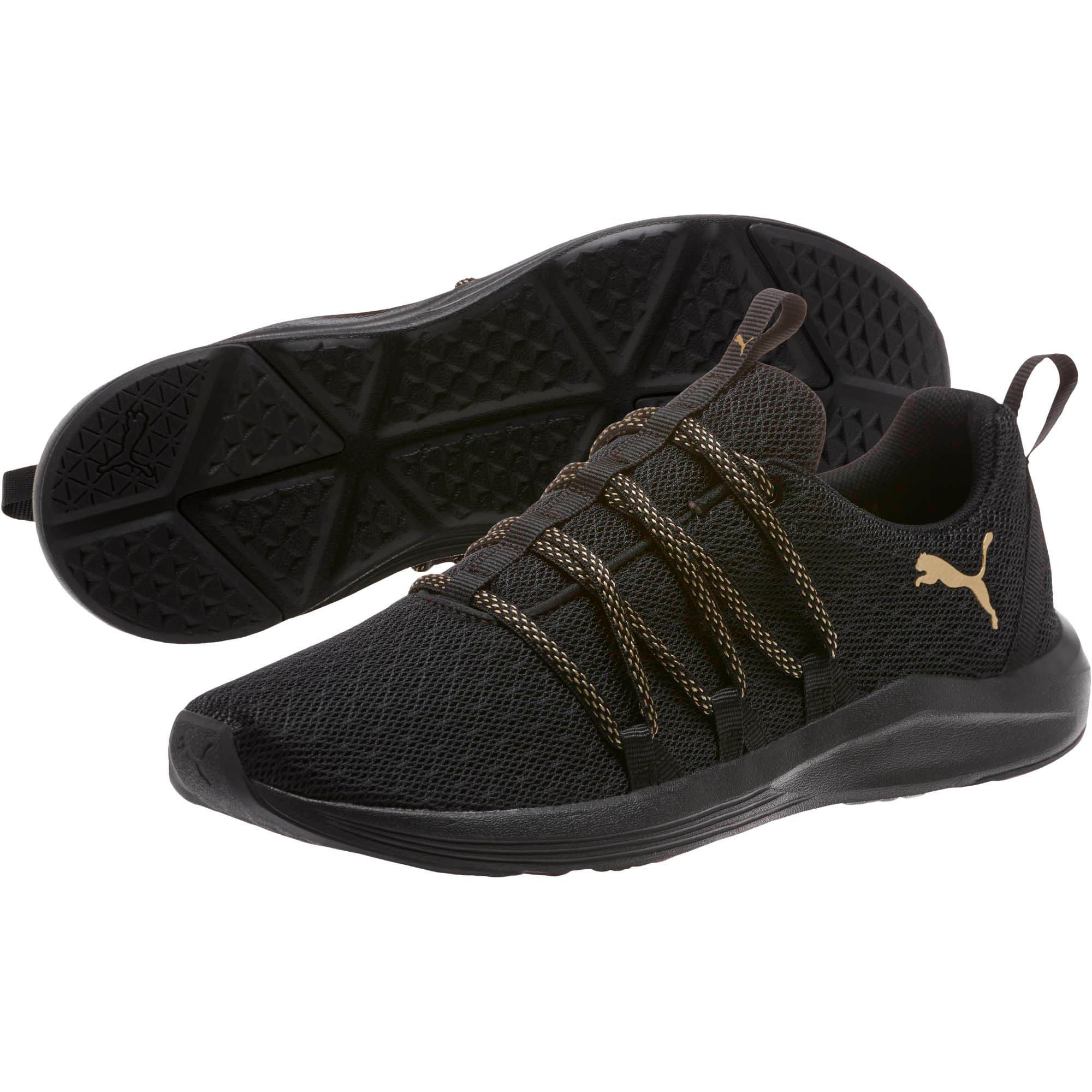 Thumbnail 2 of Prowl Alt Knit Mesh Women's Running Shoes, Puma Black-Metallic Gold, medium