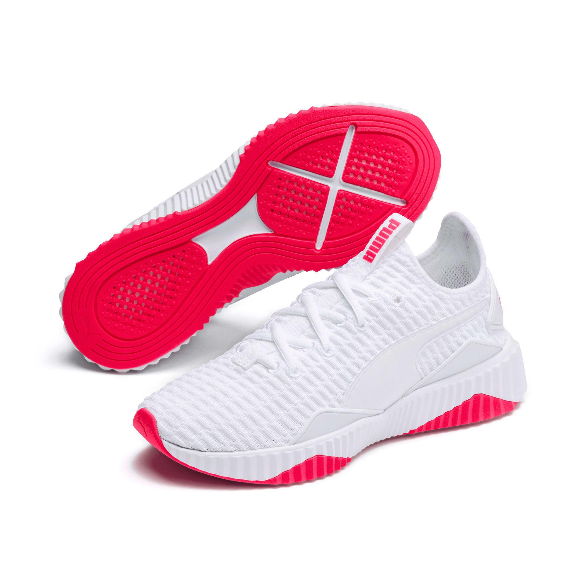 Thumbnail 3 of Defy Damen Sneaker, Puma White-Pink Alert, medium