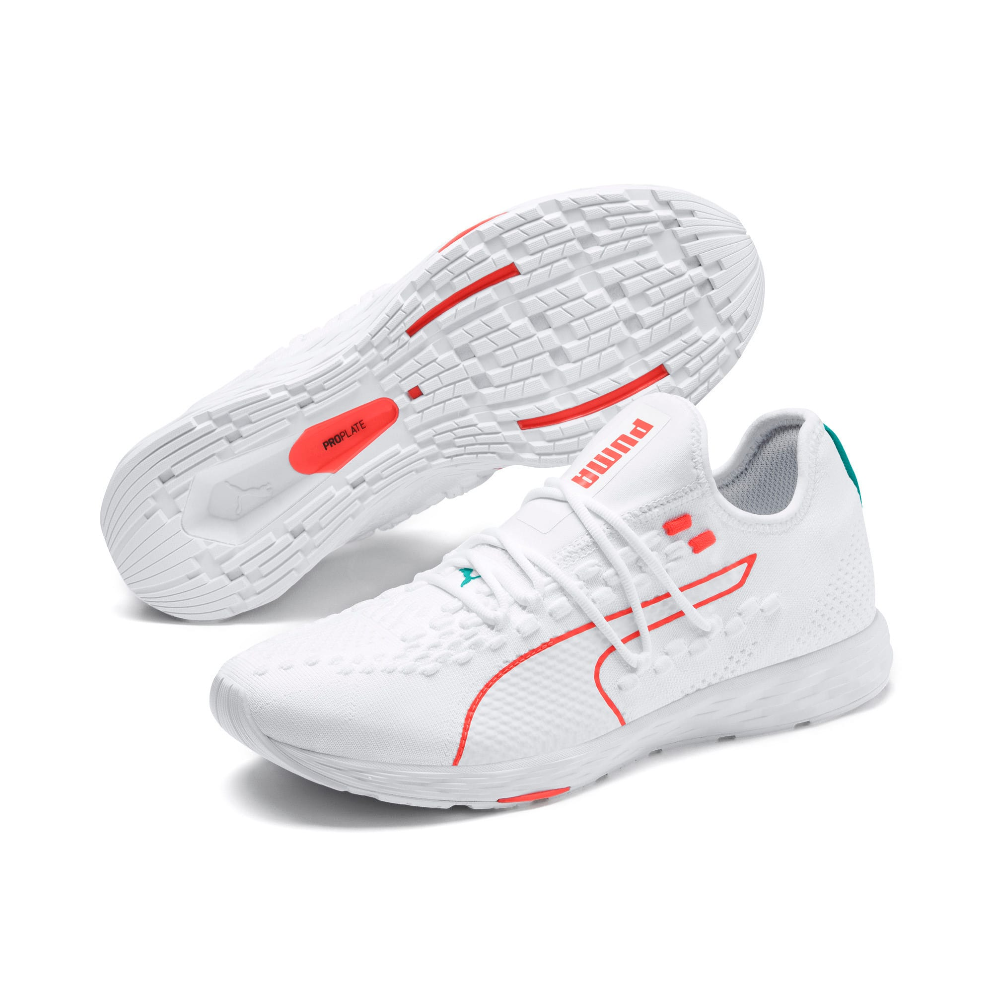 Thumbnail 3 of SPEED RACER Running Shoes, White-Nrgy Red-Turquoise, medium