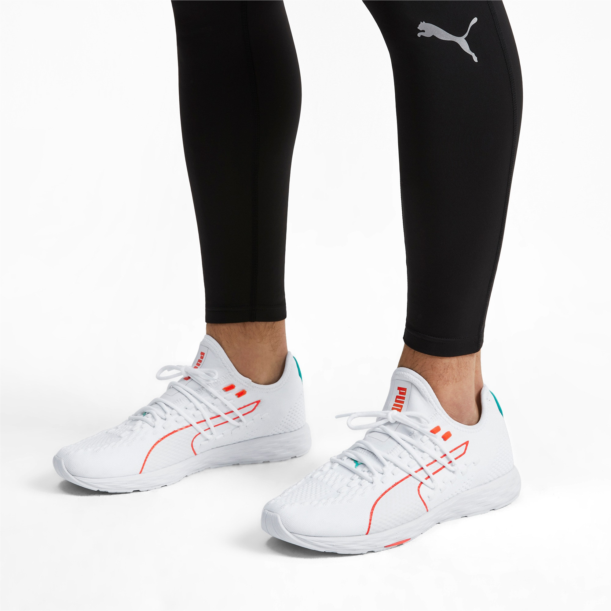 Thumbnail 2 of SPEED RACER Running Shoes, White-Nrgy Red-Turquoise, medium