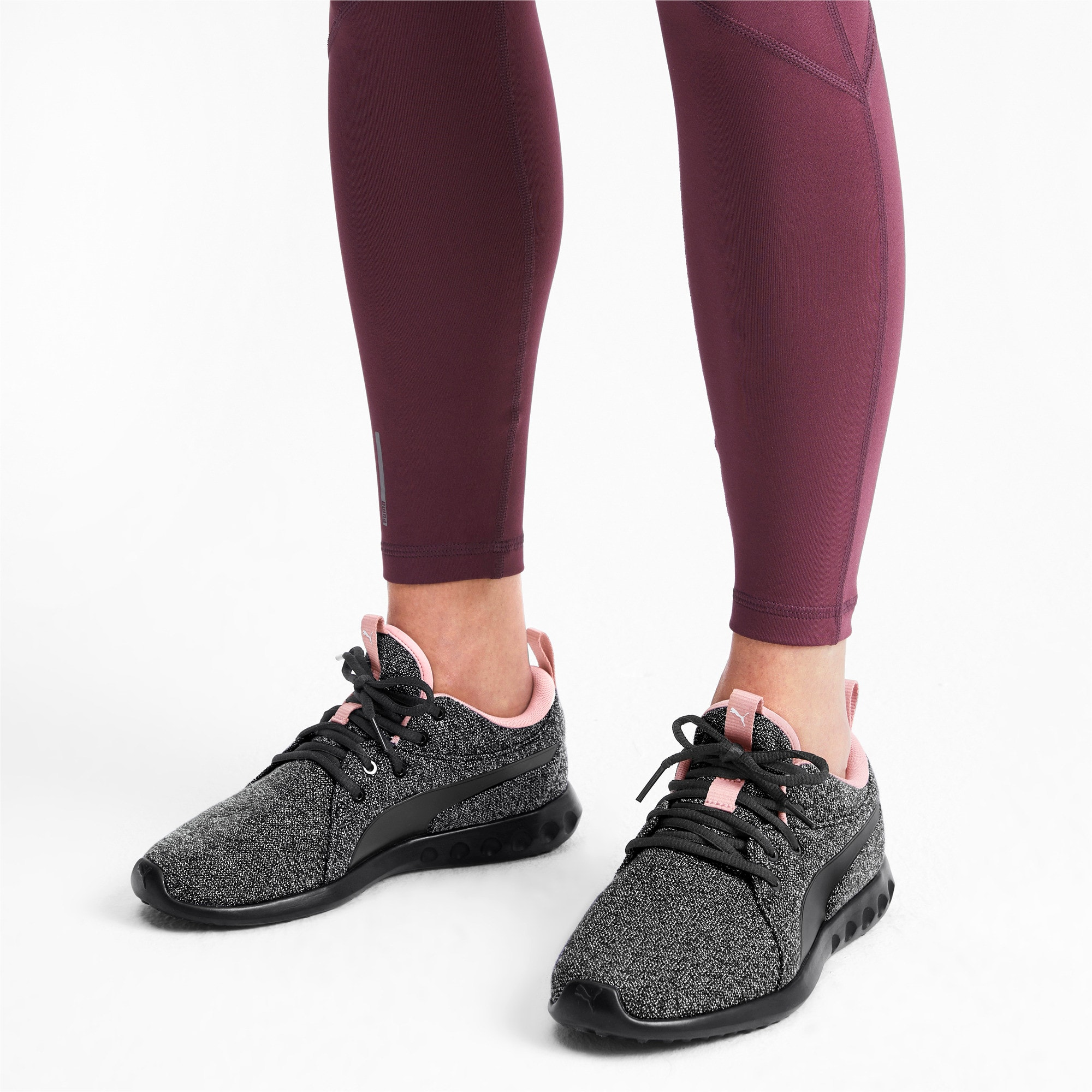 Thumbnail 3 of Carson 2 Knit Women's Running Shoes, Puma Black-White-Bridal Rose, medium