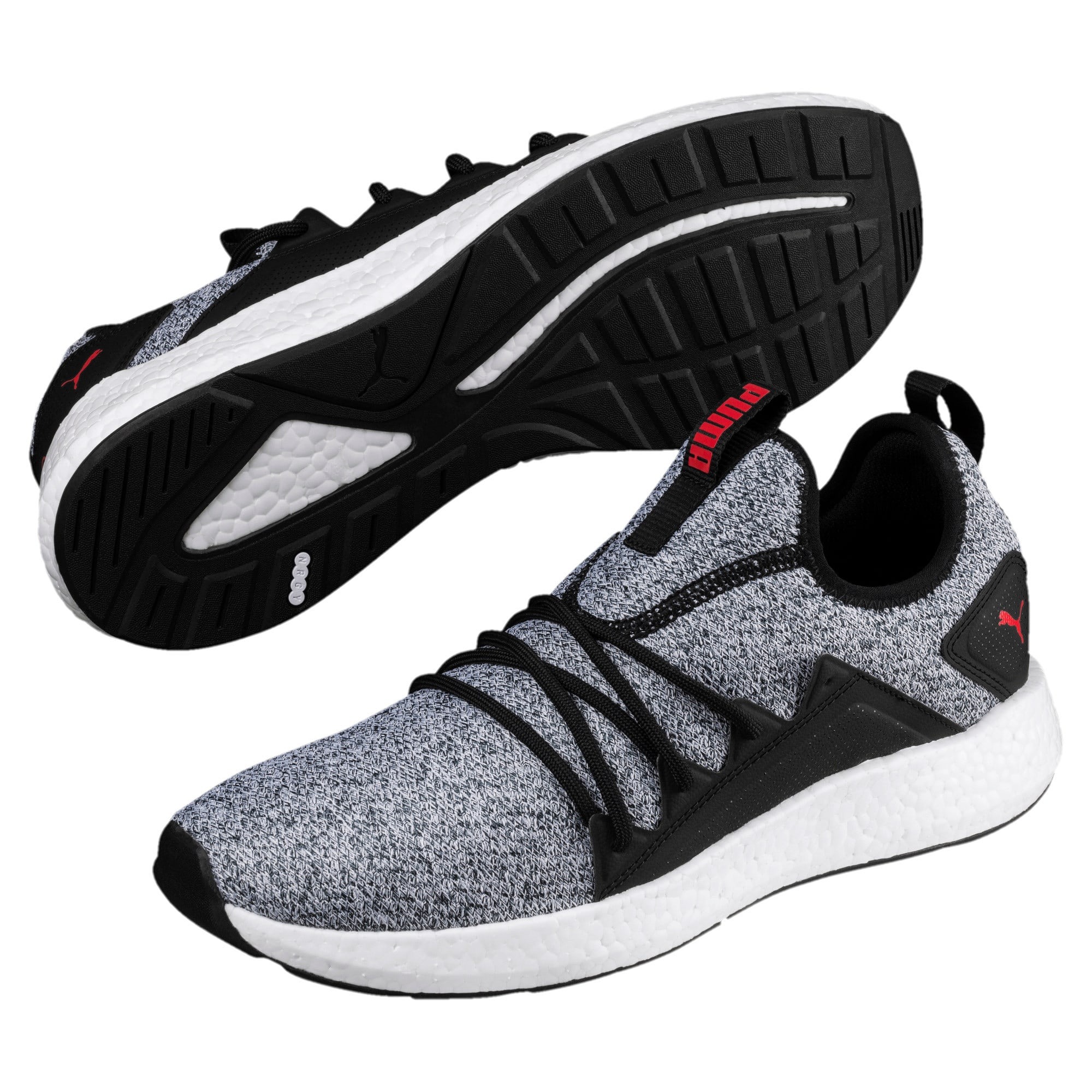 Thumbnail 2 of NRGY Neko Knit Men's Running Shoes, Puma Black-High Risk Red, medium