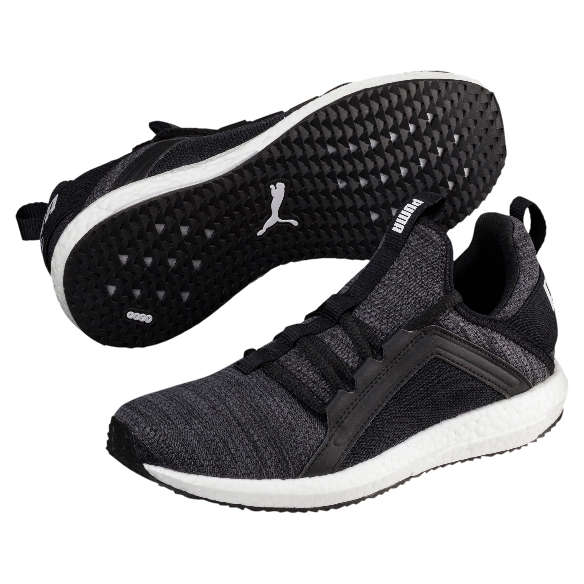 Thumbnail 2 of Mega NRGY Heather Knit Running Shoes JR, Iron Gate-Black-White, medium