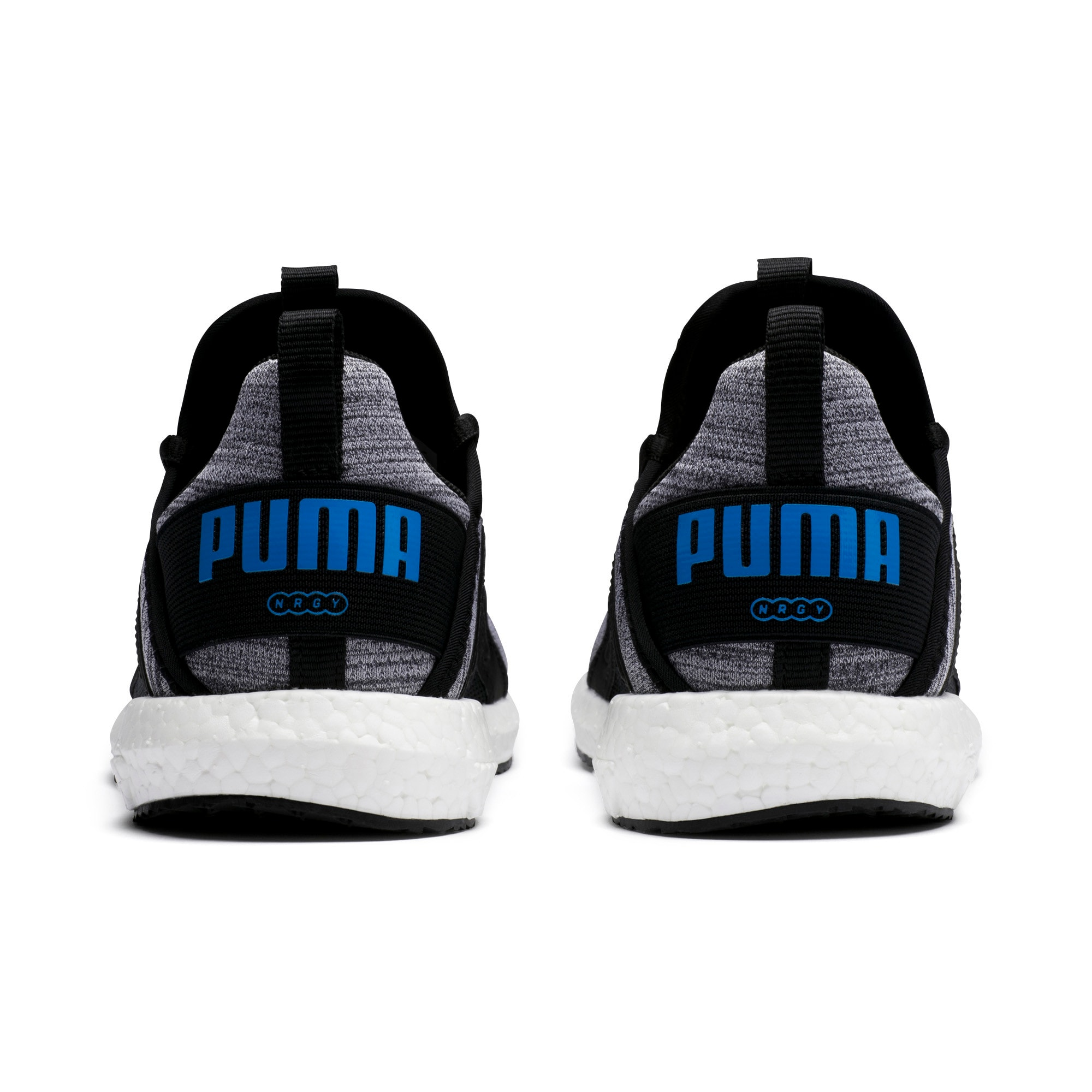Thumbnail 3 of Mega Energy Heather Knit Kids' Running Shoes, Black-White-Indigo Bunting, medium