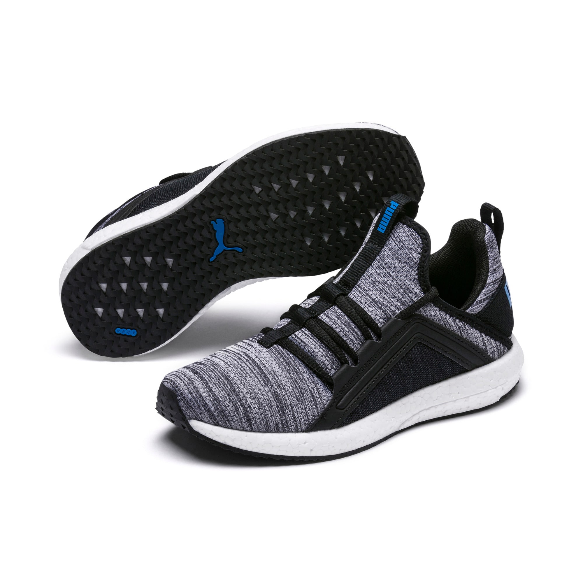 Thumbnail 2 of Mega Energy Heather Knit Kids' Running Shoes, Black-White-Indigo Bunting, medium
