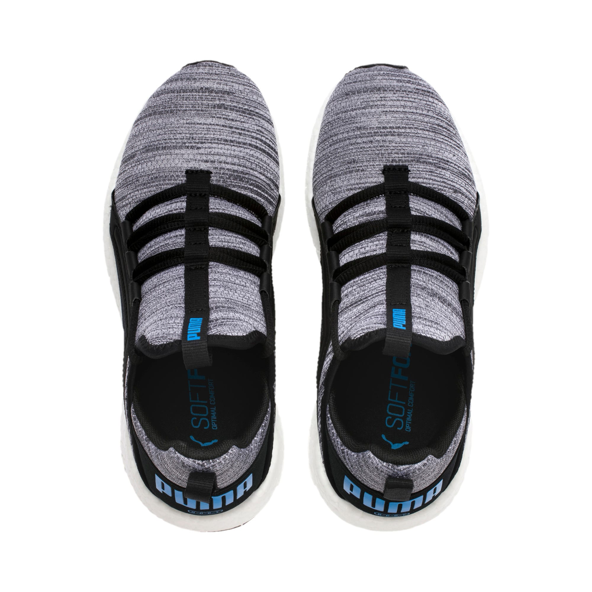 Thumbnail 6 of Mega Energy Heather Knit Kids' Running Shoes, Black-White-Indigo Bunting, medium
