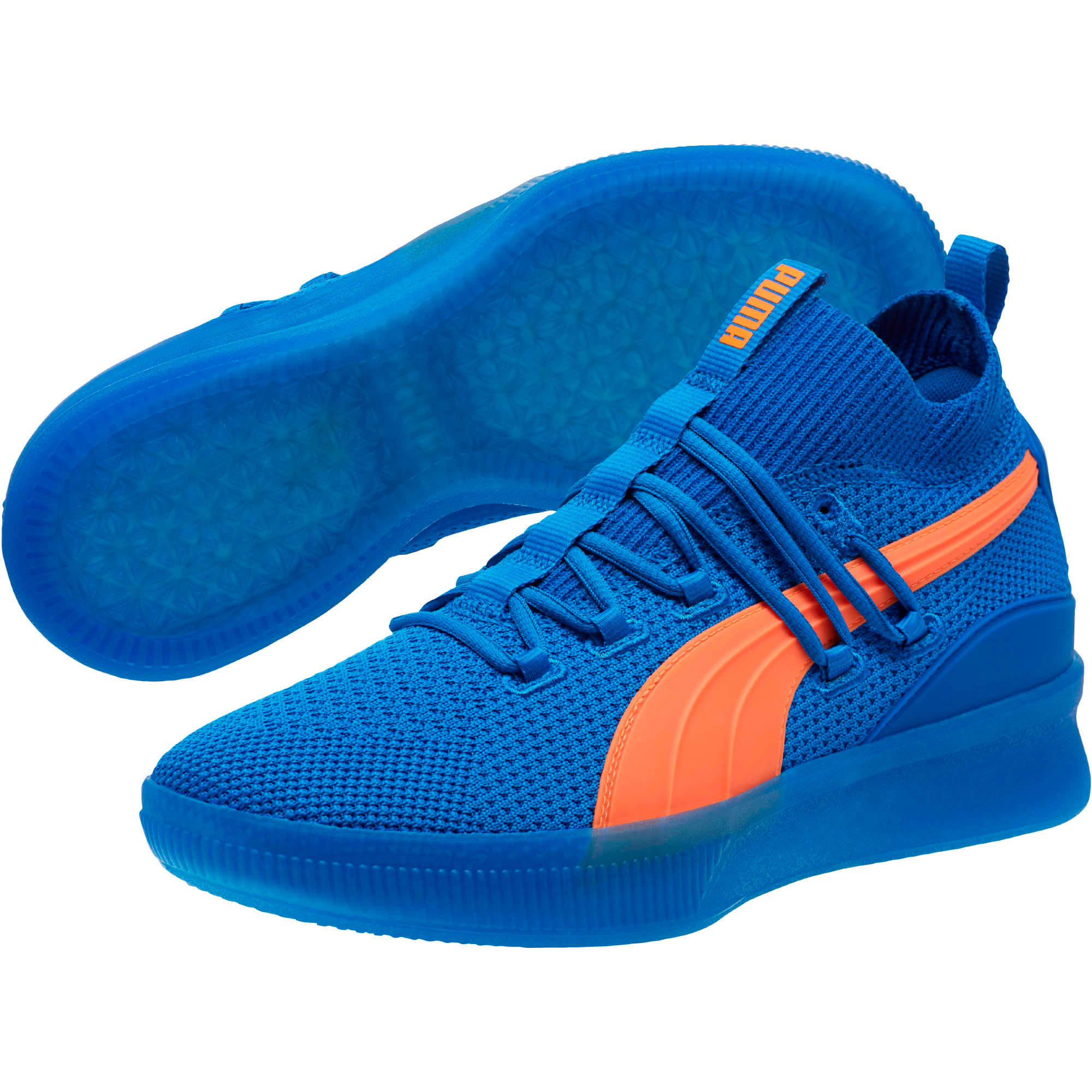Thumbnail 2 of Clyde Court Core Basketball Shoes, Strong Blue-Shocking Orange, medium
