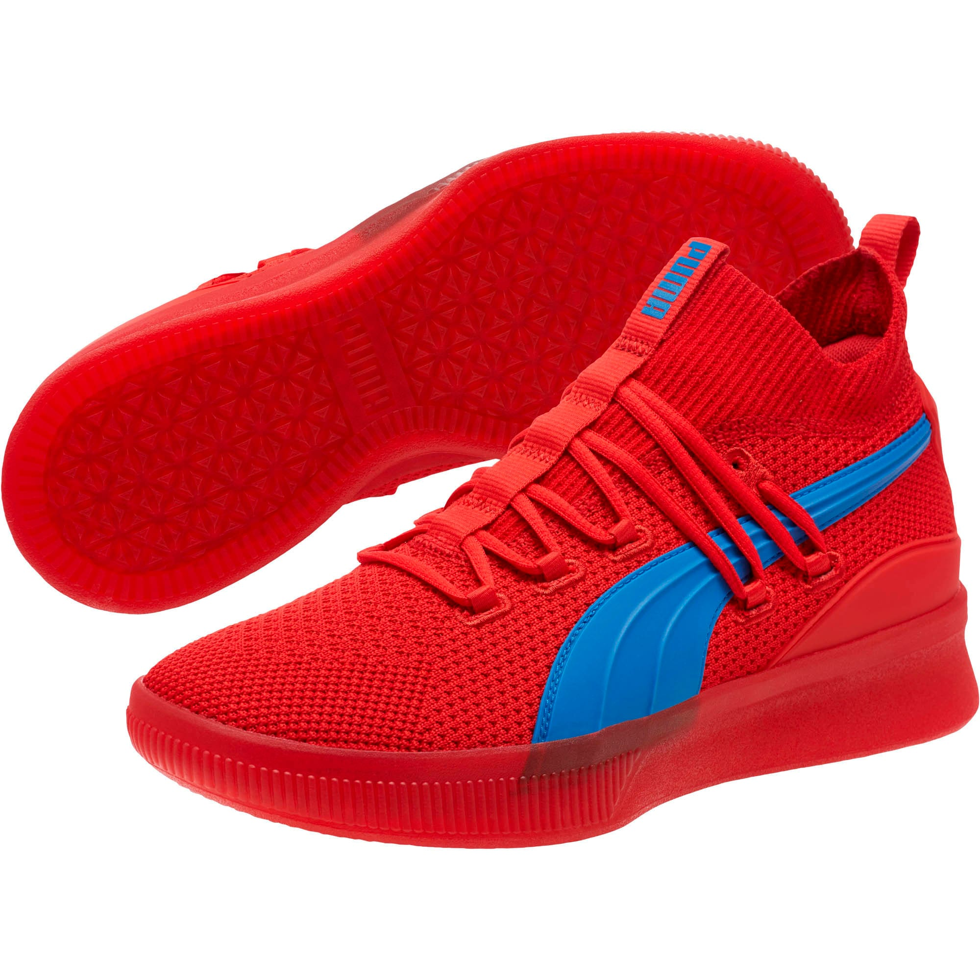 Thumbnail 2 of Clyde Court Core Basketball Shoes, High Risk Red-Strong Blue, medium