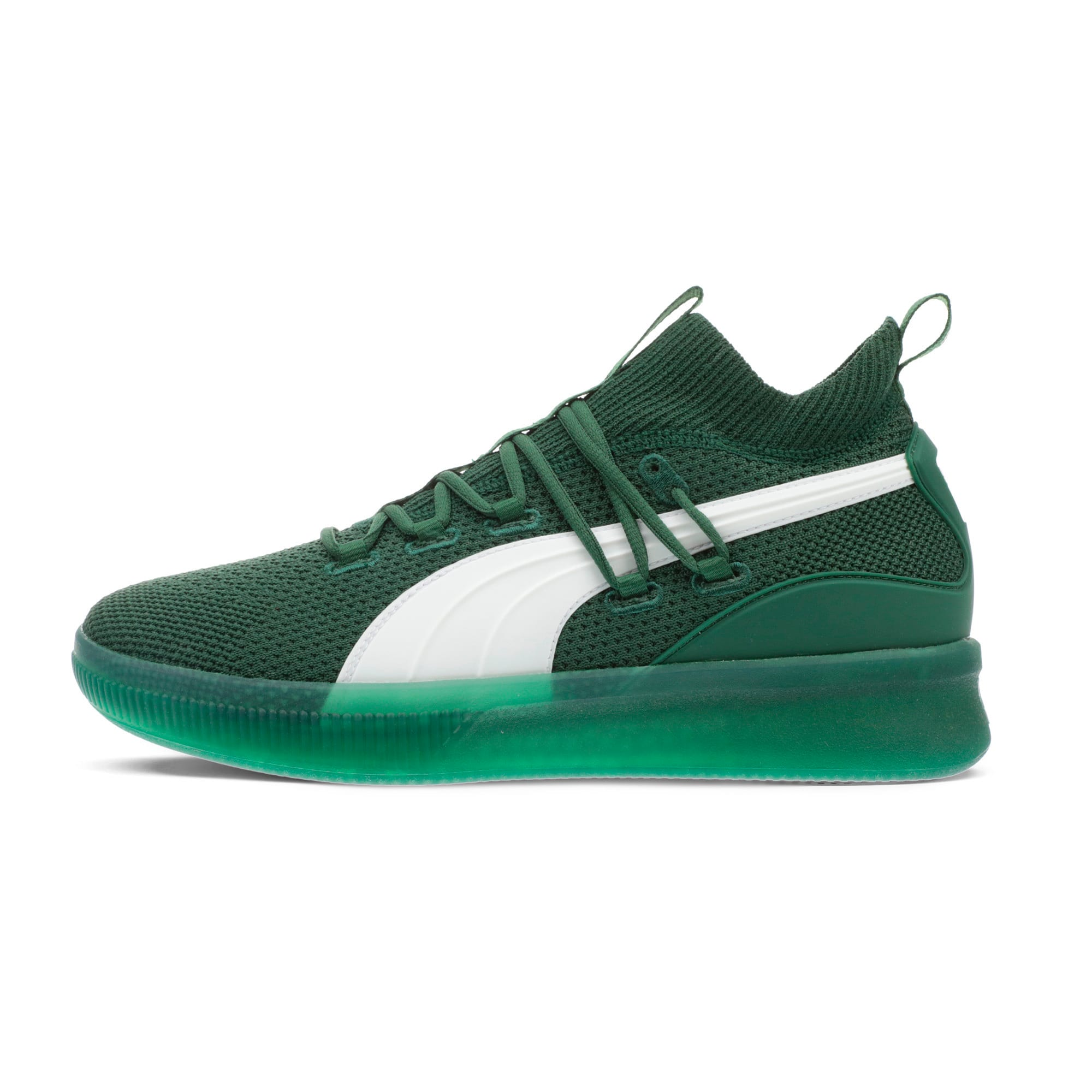 Thumbnail 1 of Clyde Court Core Basketball Shoes, Dark Green-Puma White, medium