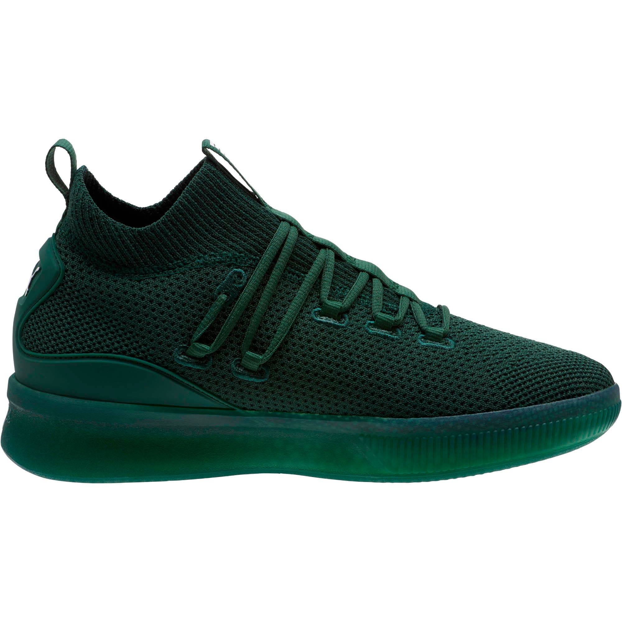 Thumbnail 3 of Clyde Court Core Basketball Shoes, Dark Green-Puma White, medium
