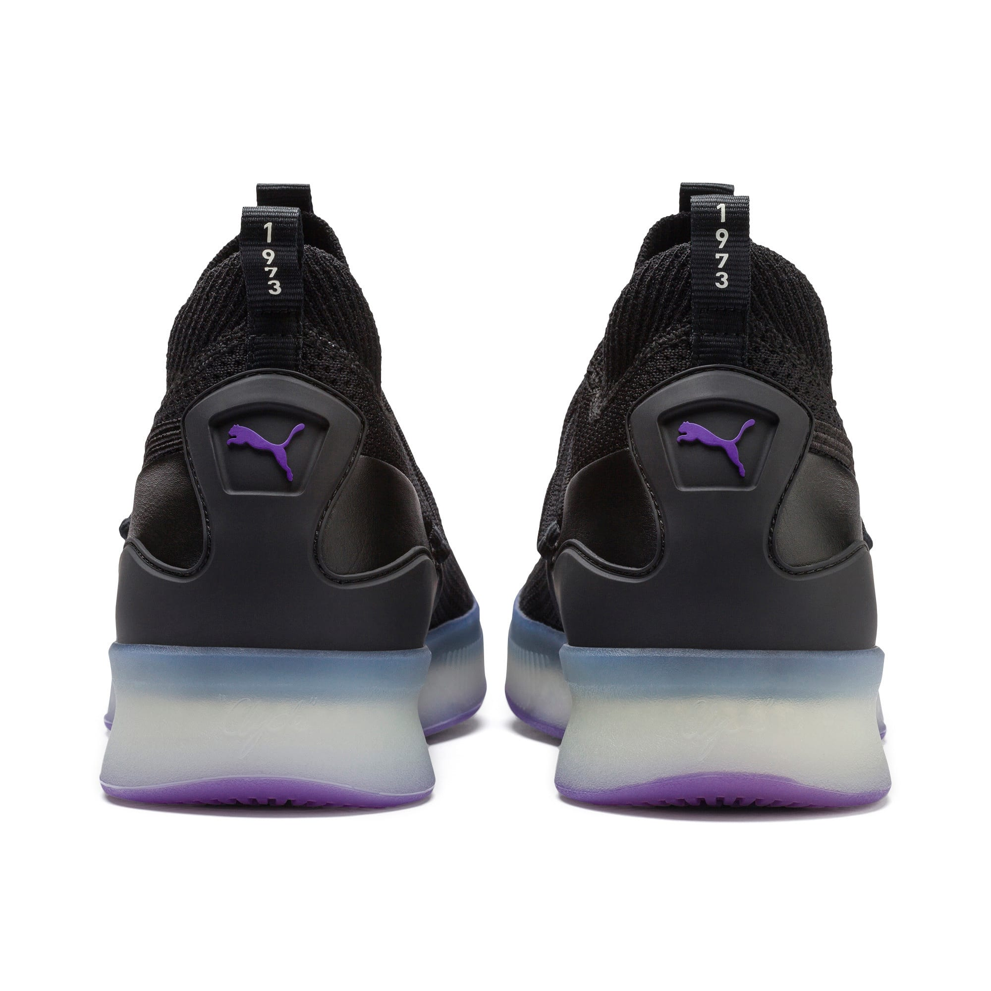 Thumbnail 3 of Clyde Court Basketball Shoes, Puma Black-ELECTRIC PURPLE, medium