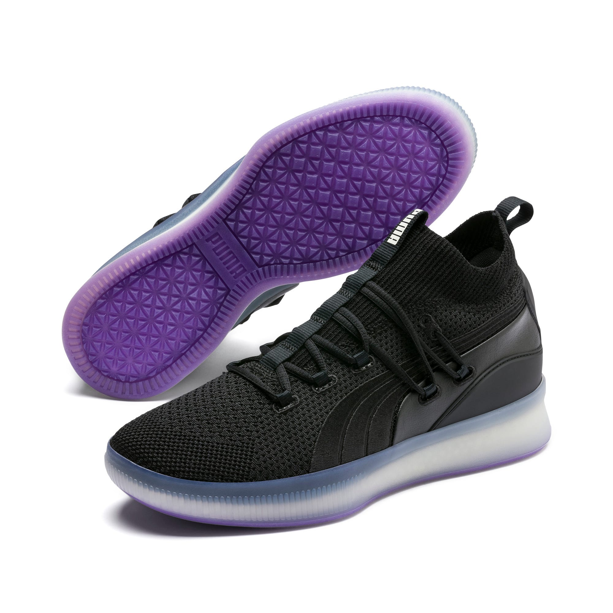 Thumbnail 2 of Clyde Court Basketball Shoes, Puma Black-ELECTRIC PURPLE, medium