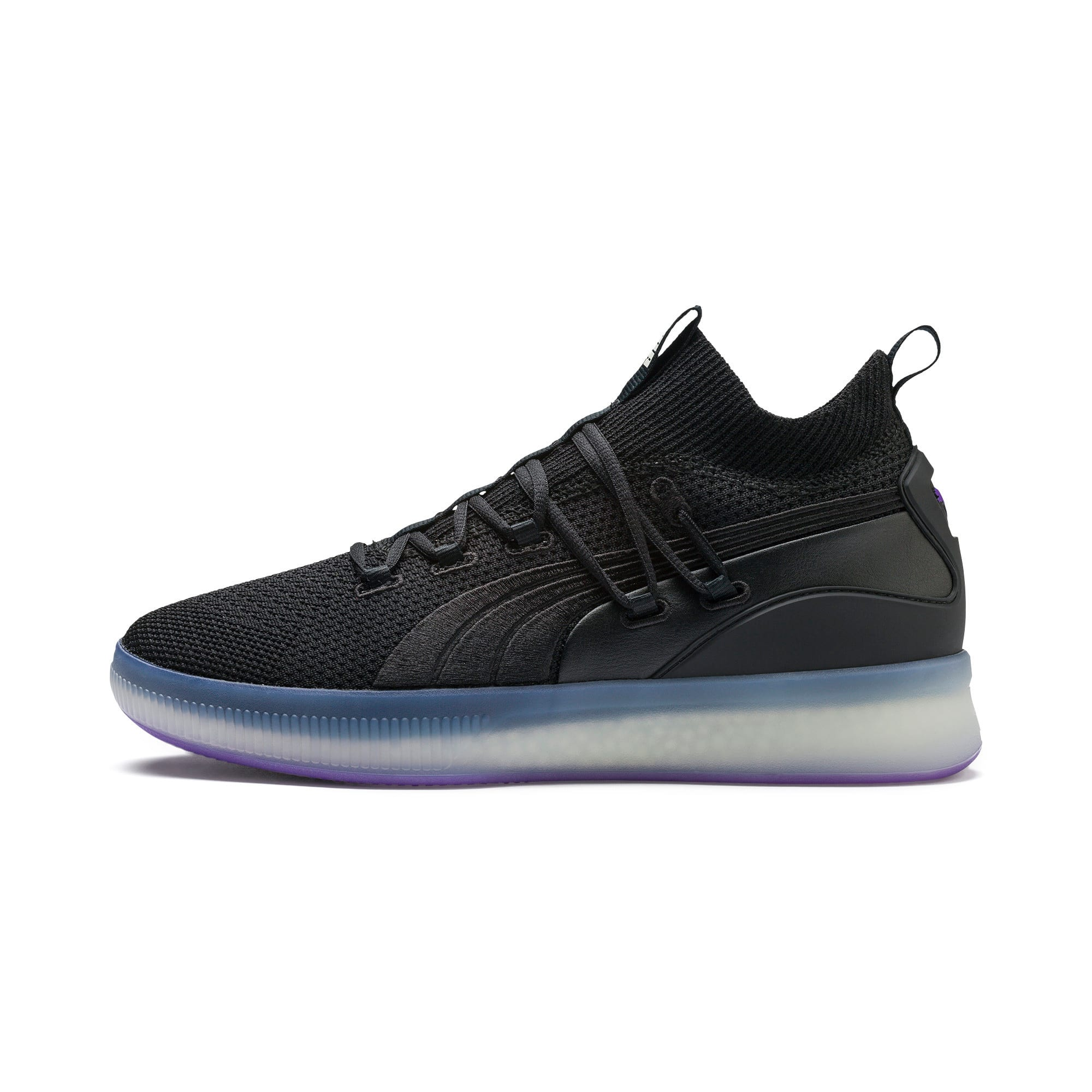 Thumbnail 1 of Clyde Court Disrupt Men's Basketball Shoes, Puma Black-ELECTRIC PURPLE, medium