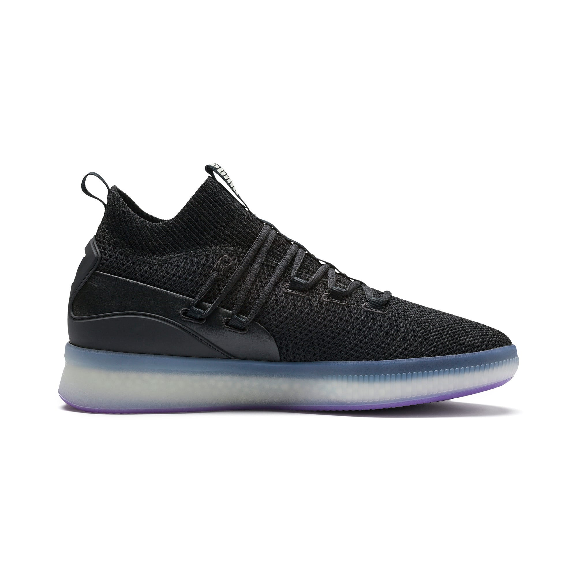 Thumbnail 5 of Clyde Court Basketball Shoes, Puma Black-ELECTRIC PURPLE, medium