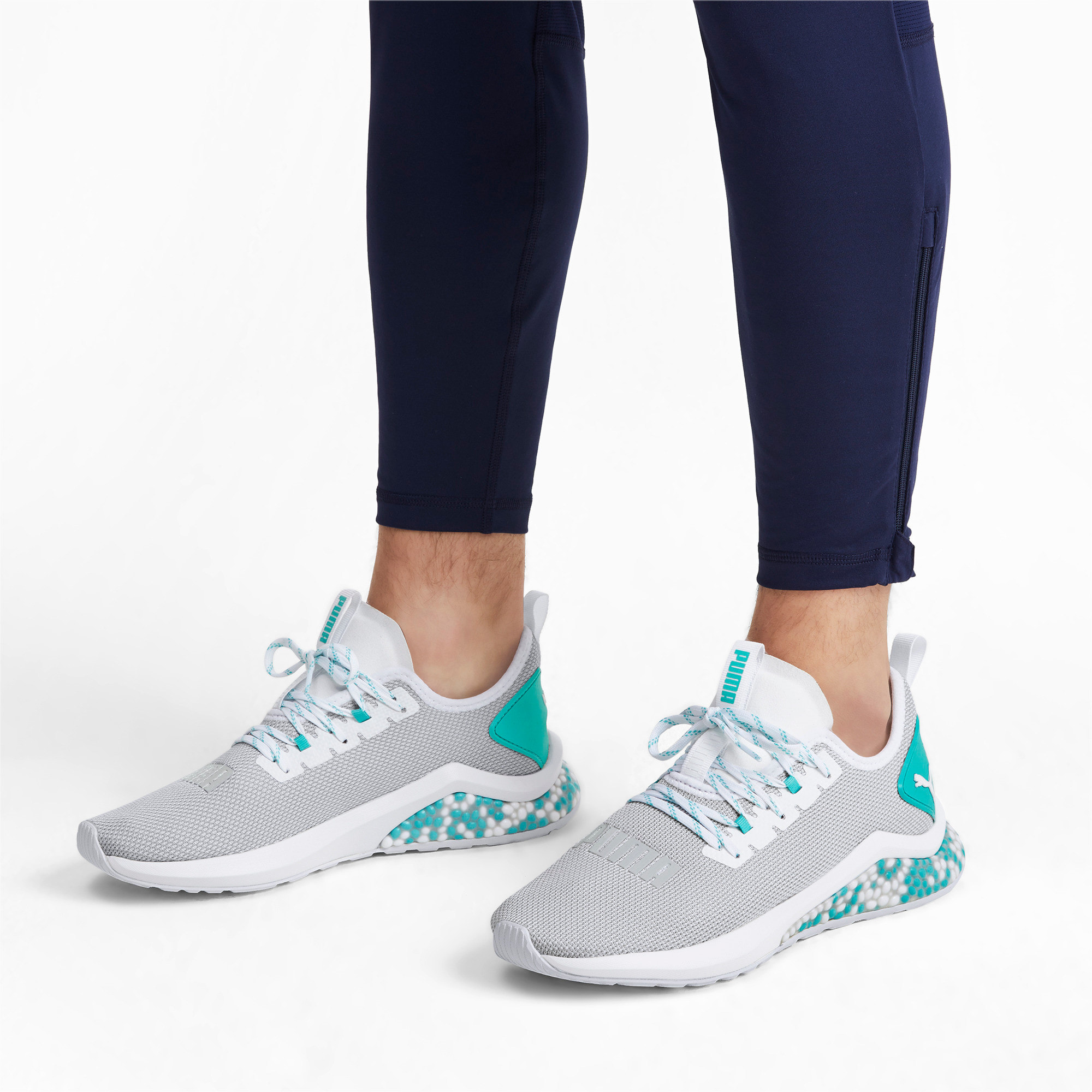 Thumbnail 2 of HYBRID NX Men's Running Shoes, Puma White-Blue Turquoise, medium