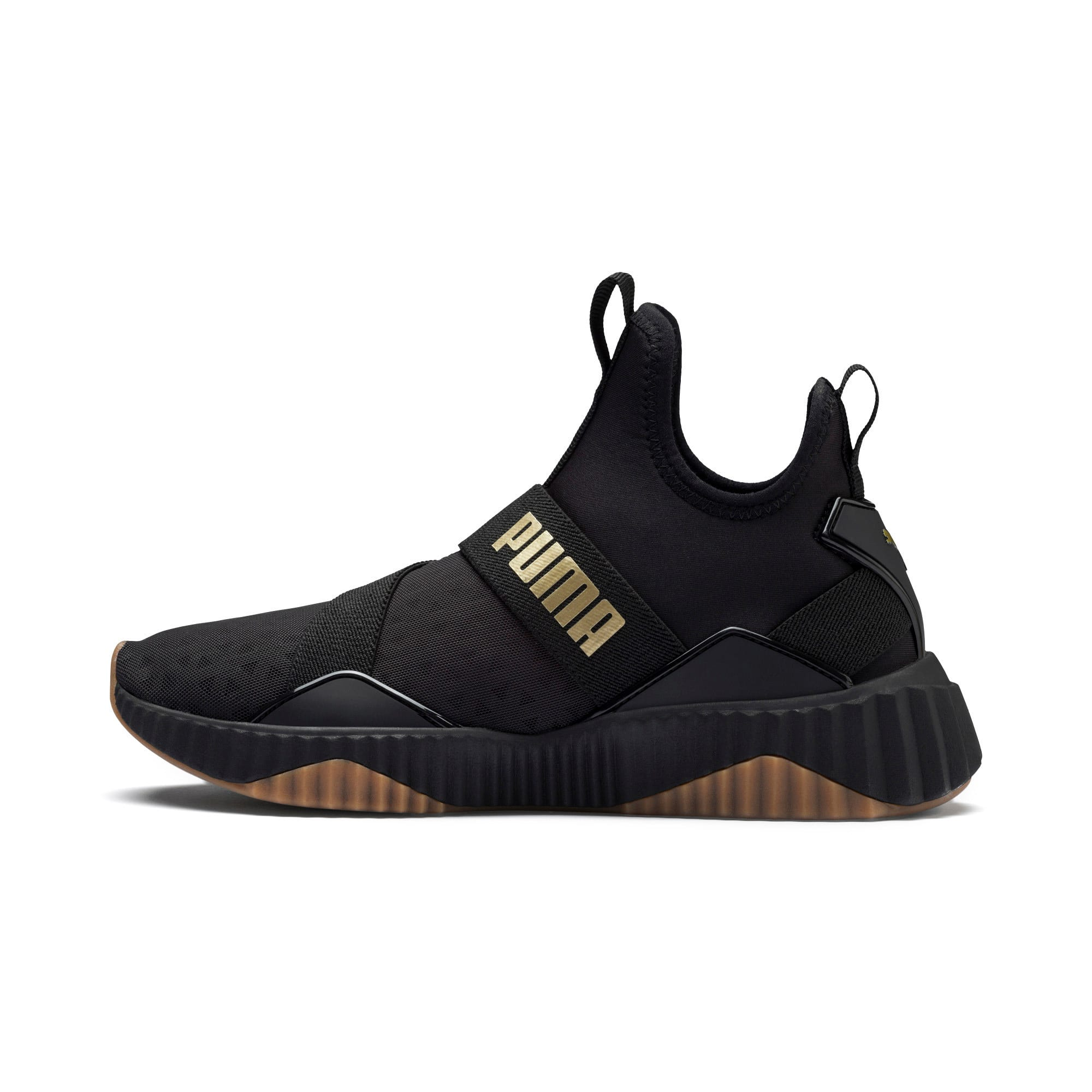 Thumbnail 1 of Defy Mid Sparkle Damen Sneaker, Puma Black-Metallic Gold, medium