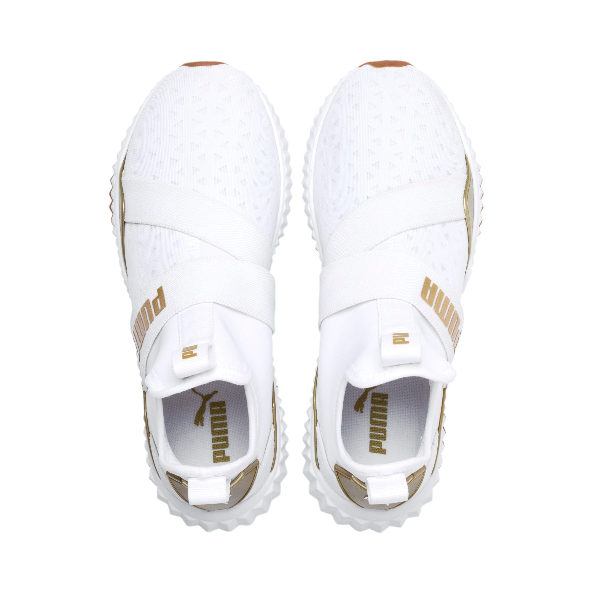 Defy Mid Sparkle Women's Trainers, Puma White-Metallic Gold, large