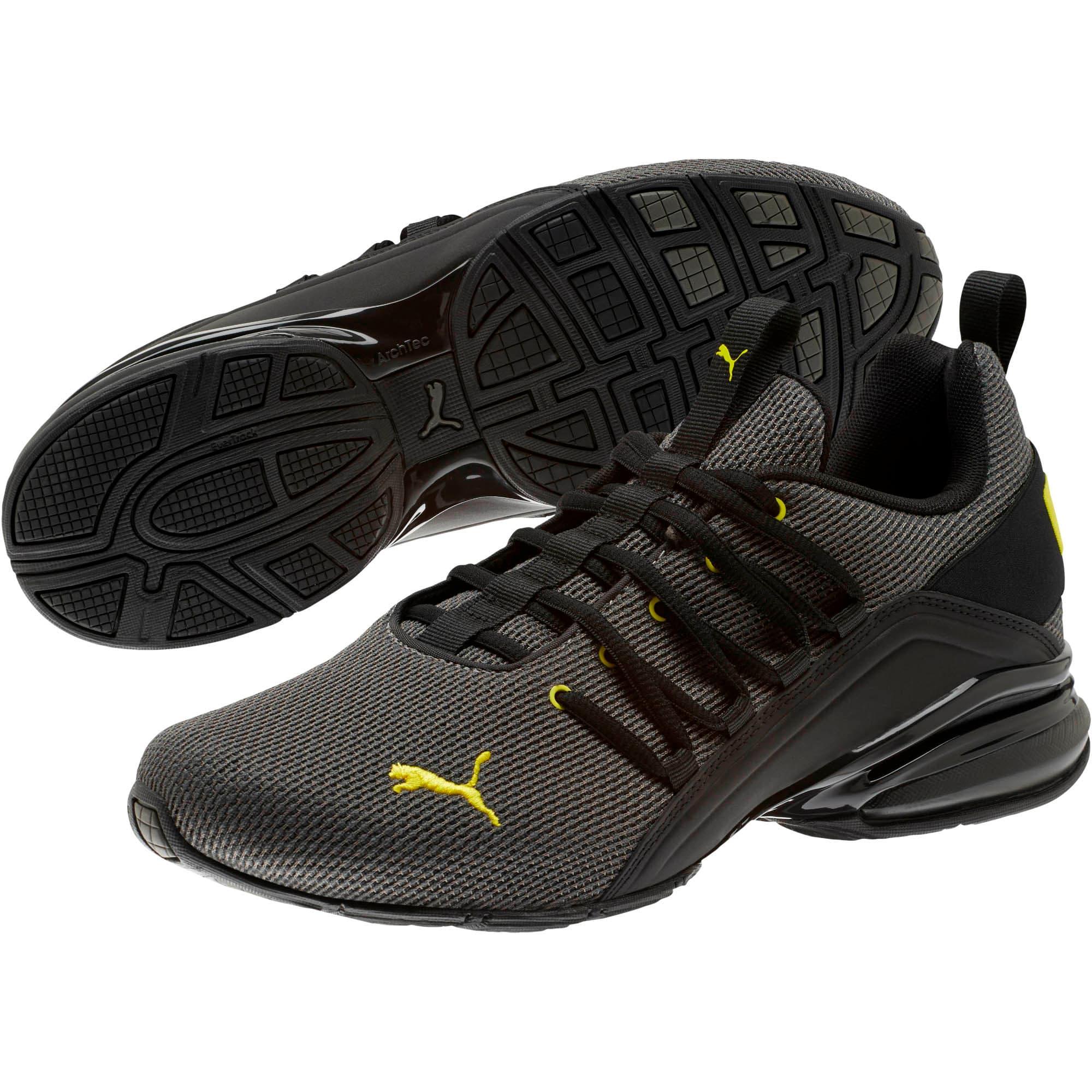 Thumbnail 2 of Axelion Mesh Men's Training Shoes, Charcoal Gray-Blazing Yellow, medium