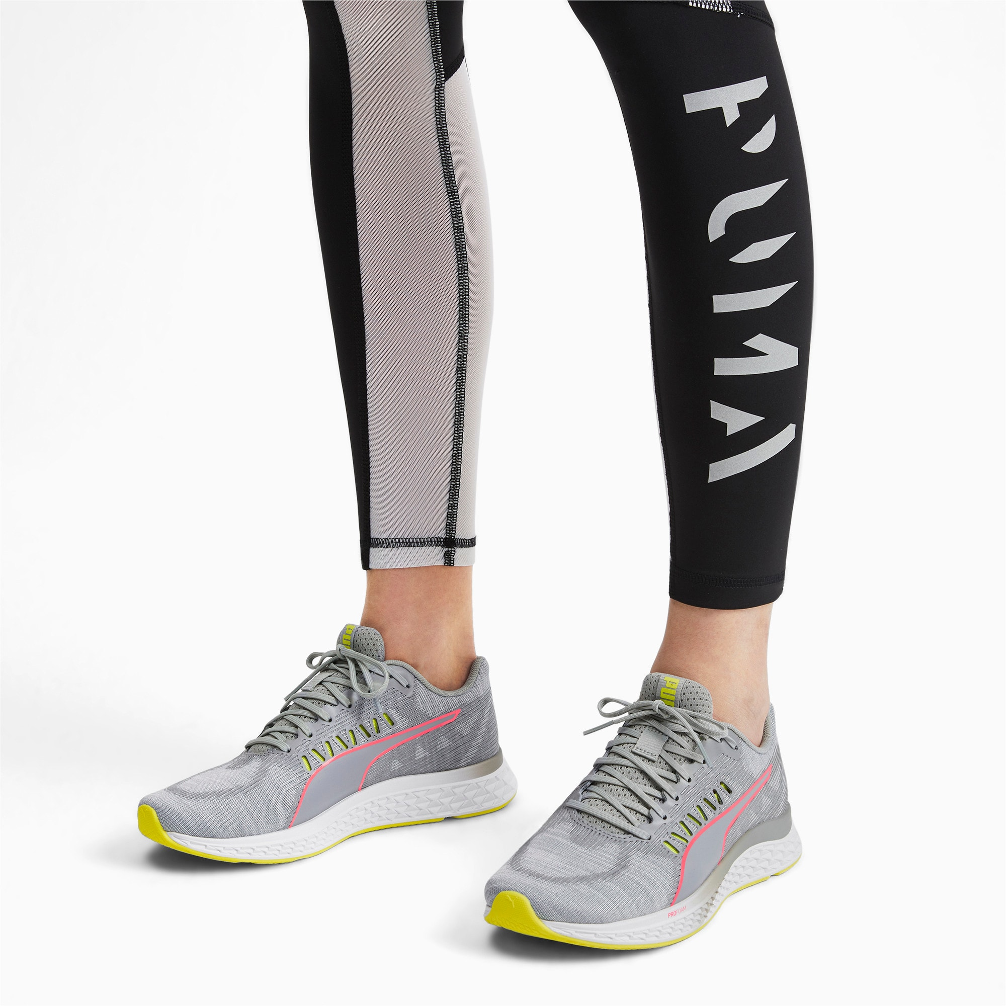 Thumbnail 3 of Speed Sutamina Women's Running Shoes, Quarry-Yellow Alert-Pink, medium-IND