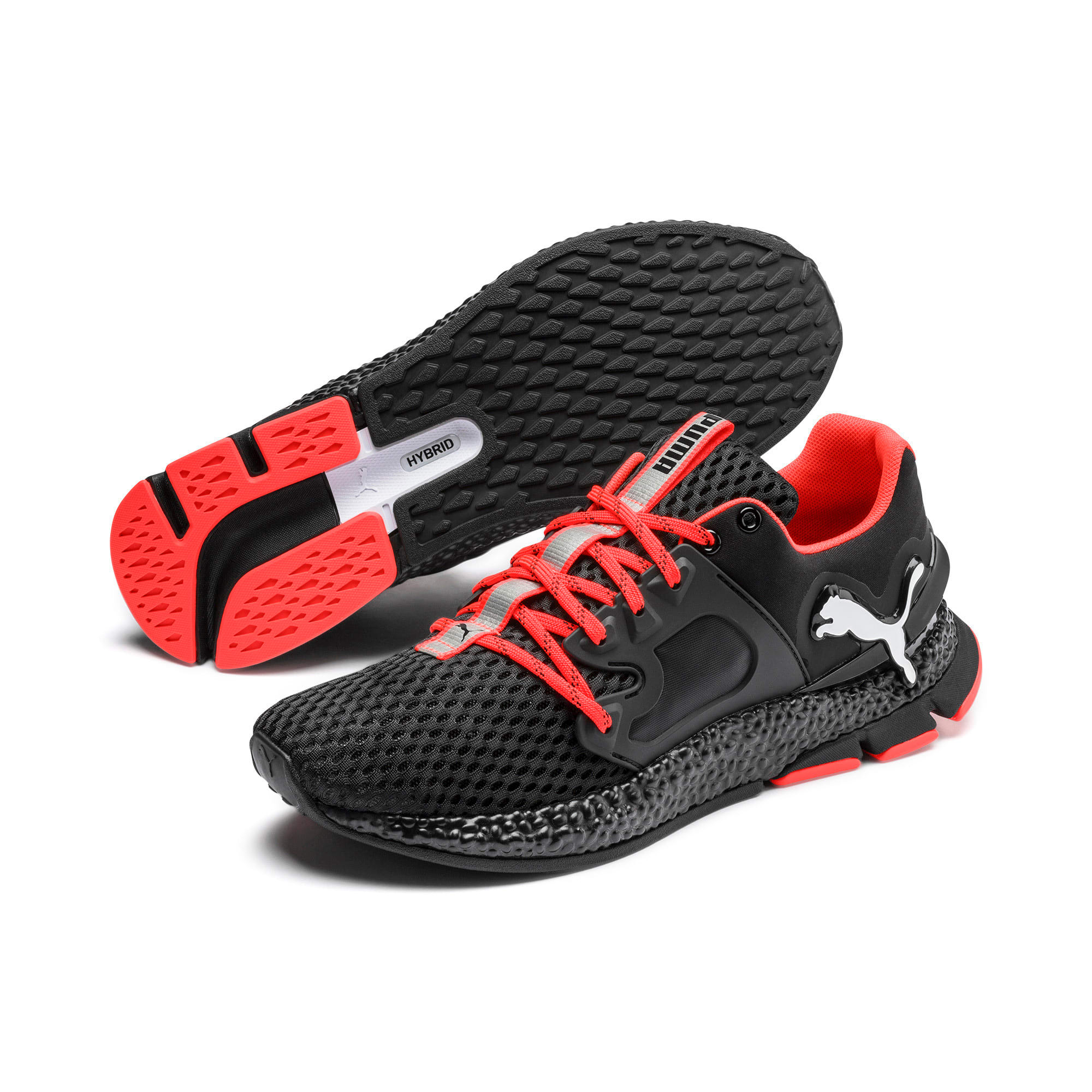 HYBRID Sky Men's Running Shoes, Black-White-Nrgy Red, large