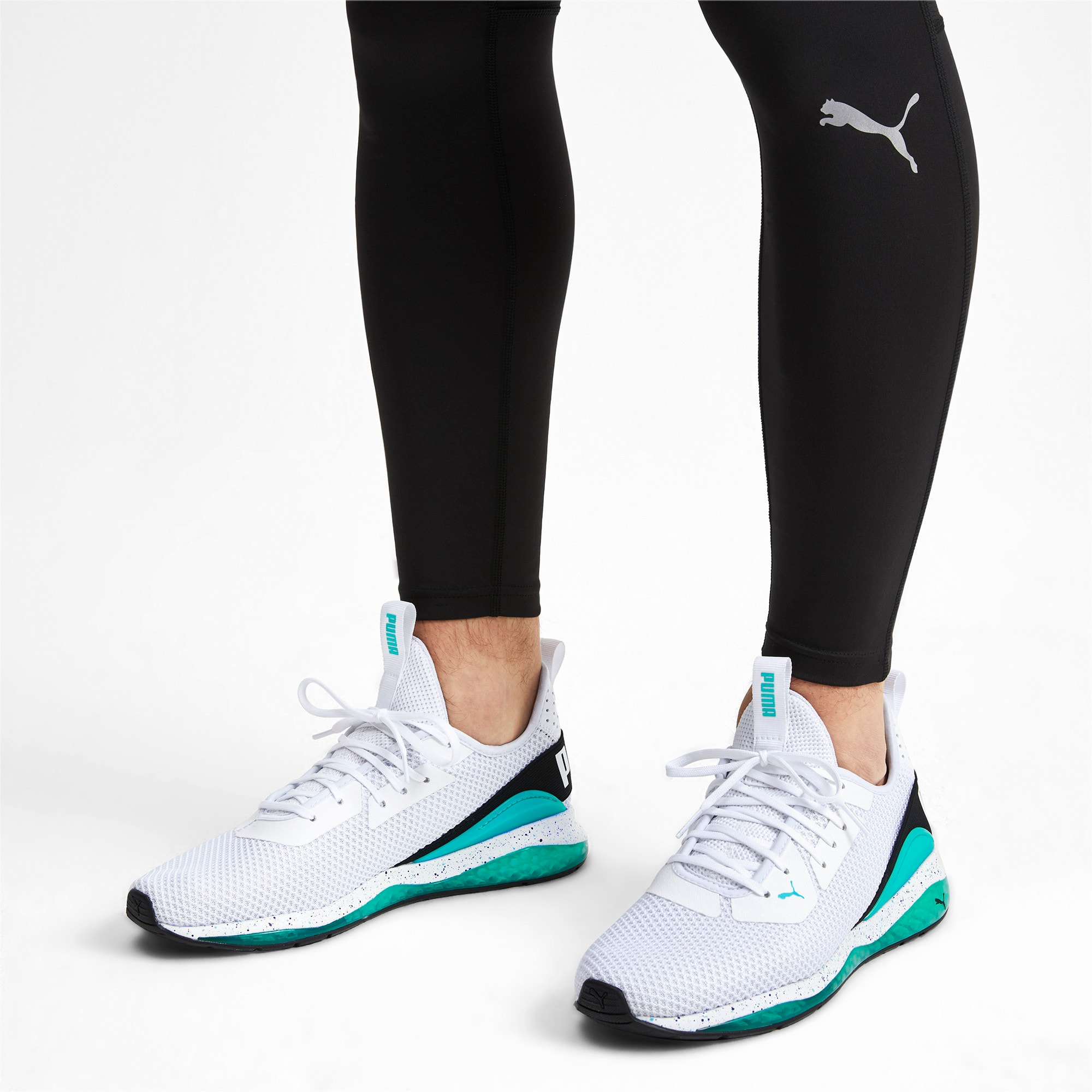 Thumbnail 4 of Cell Descend Weave Running Trainers, White-Black-Blue Turquoise, medium-IND