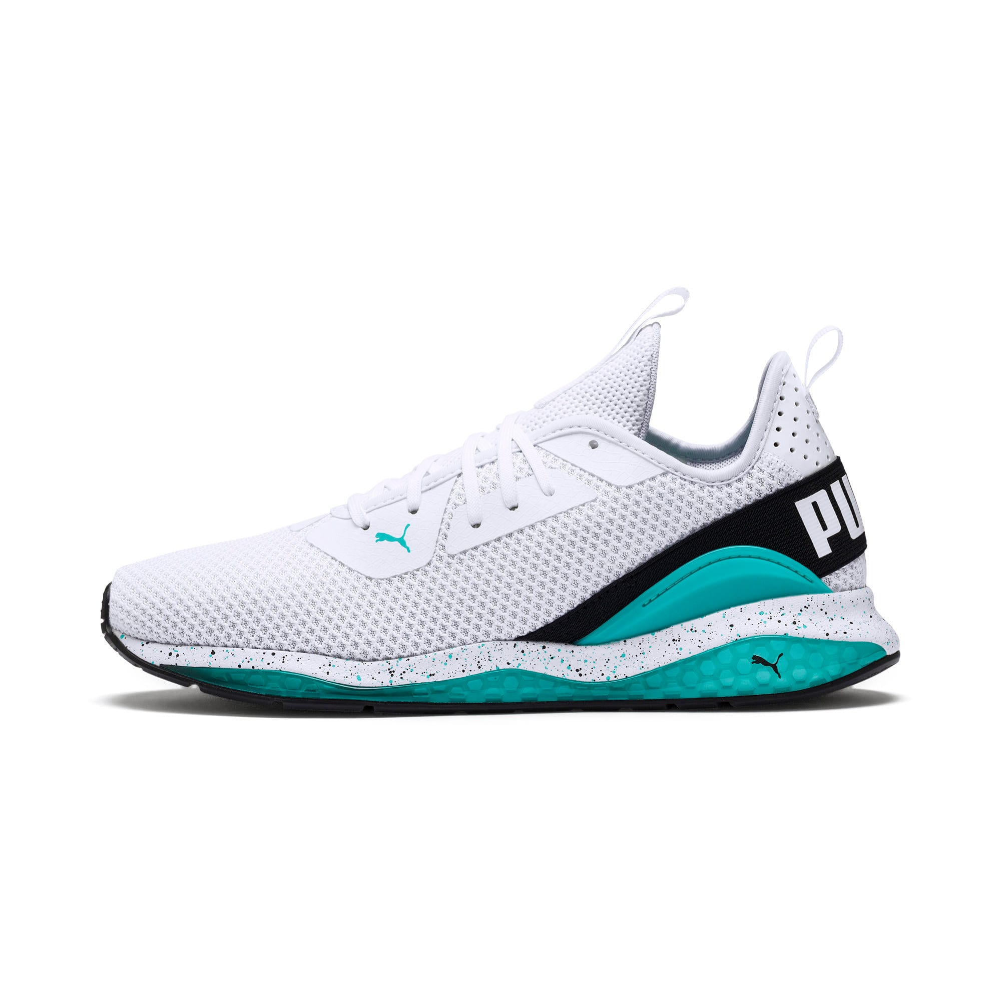 Thumbnail 1 of Cell Descend Weave Running Trainers, White-Black-Blue Turquoise, medium-IND