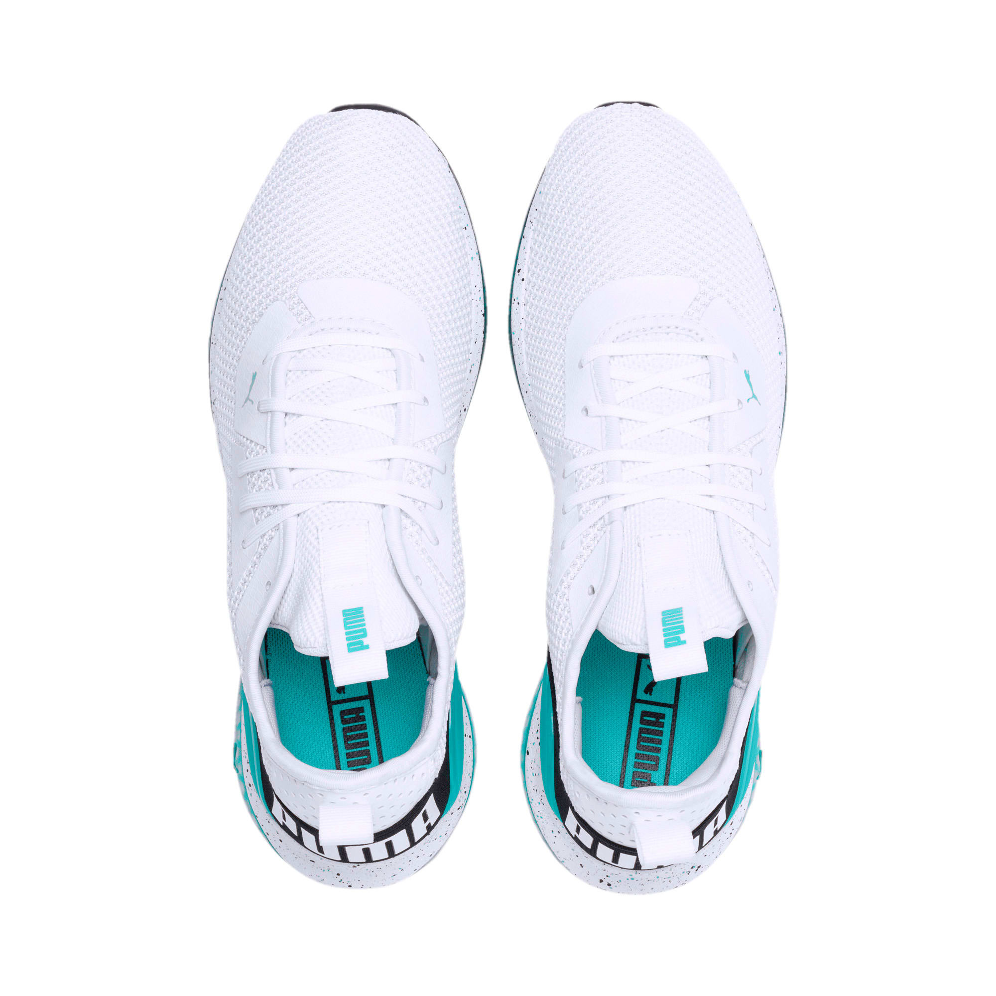 Thumbnail 8 of Cell Descend Weave Running Trainers, White-Black-Blue Turquoise, medium-IND