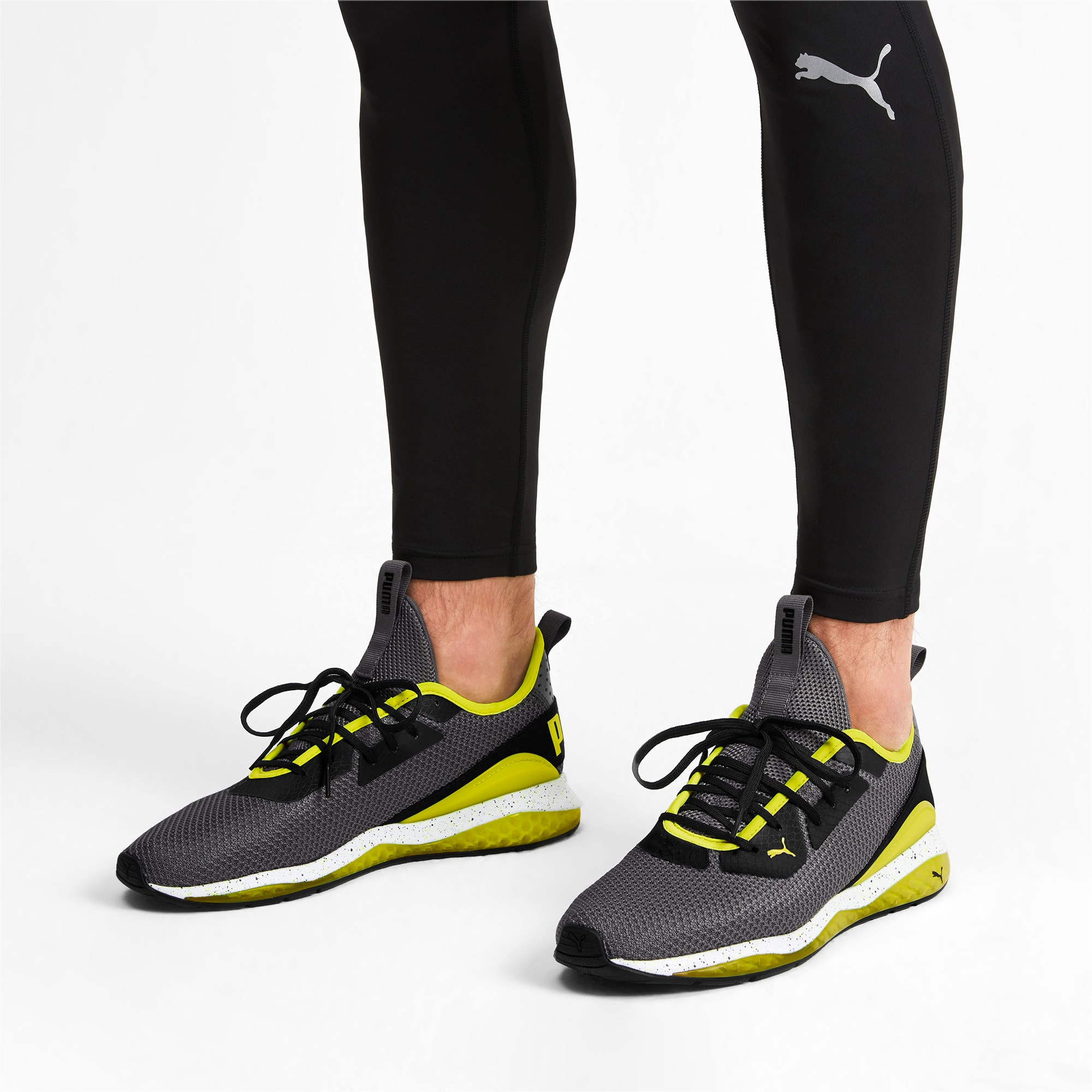 Thumbnail 2 of Cell Descend Weave Running Trainers, CASTLEROCK-Black-Yellow, medium-IND