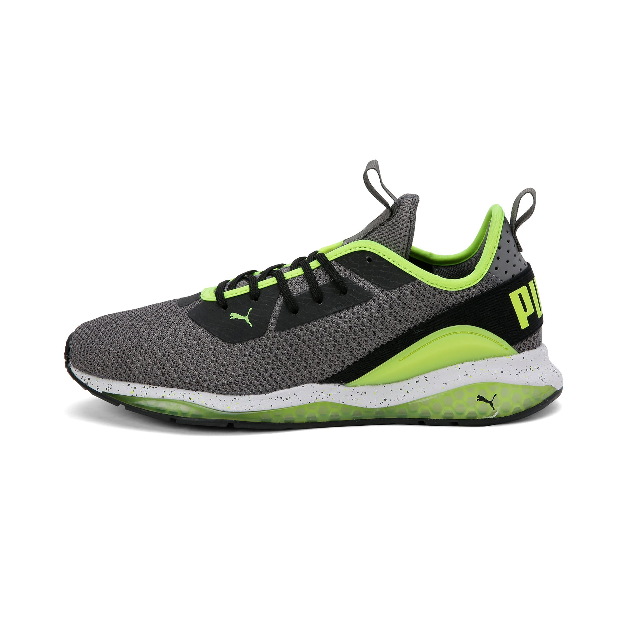 Thumbnail 1 of Cell Descend Weave Running Trainers, CASTLEROCK-Black-Yellow, medium-IND