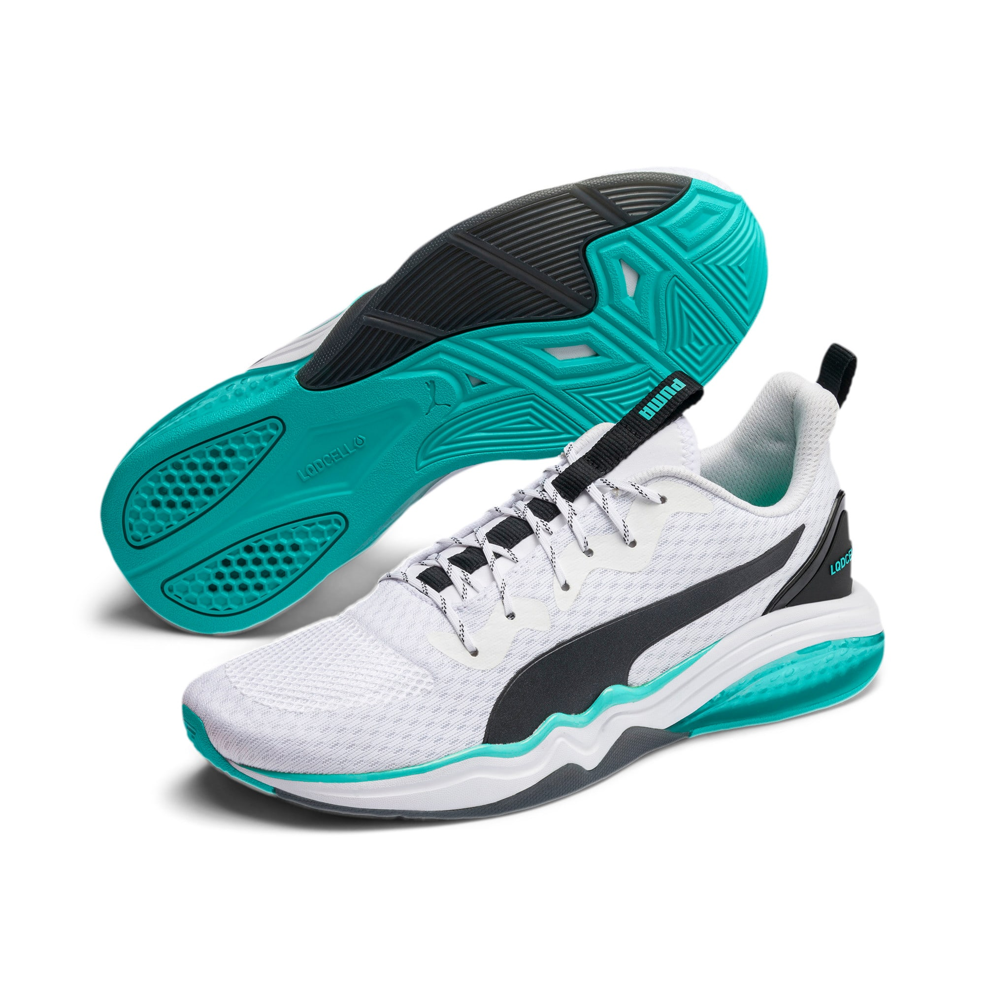 LQDCELL Tension Men's Training Shoes, Puma White-Blue Turquoise, large