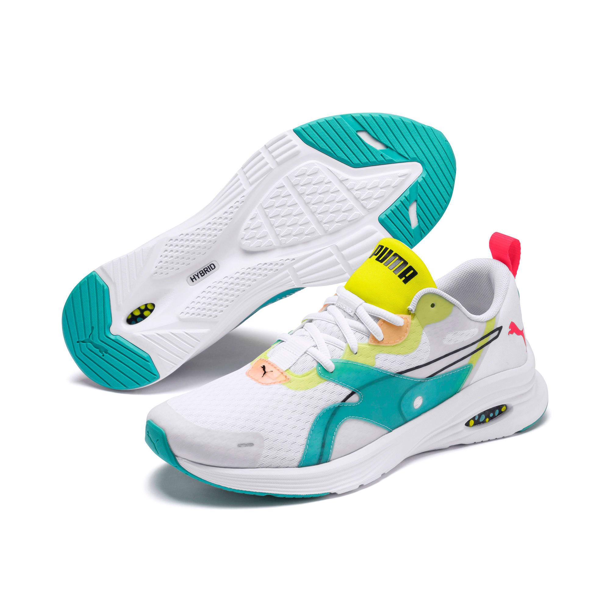 Thumbnail 2 of HYBRID Fuego Men's Running Shoes, White-Nrgy Rose-Yellow Alert, medium