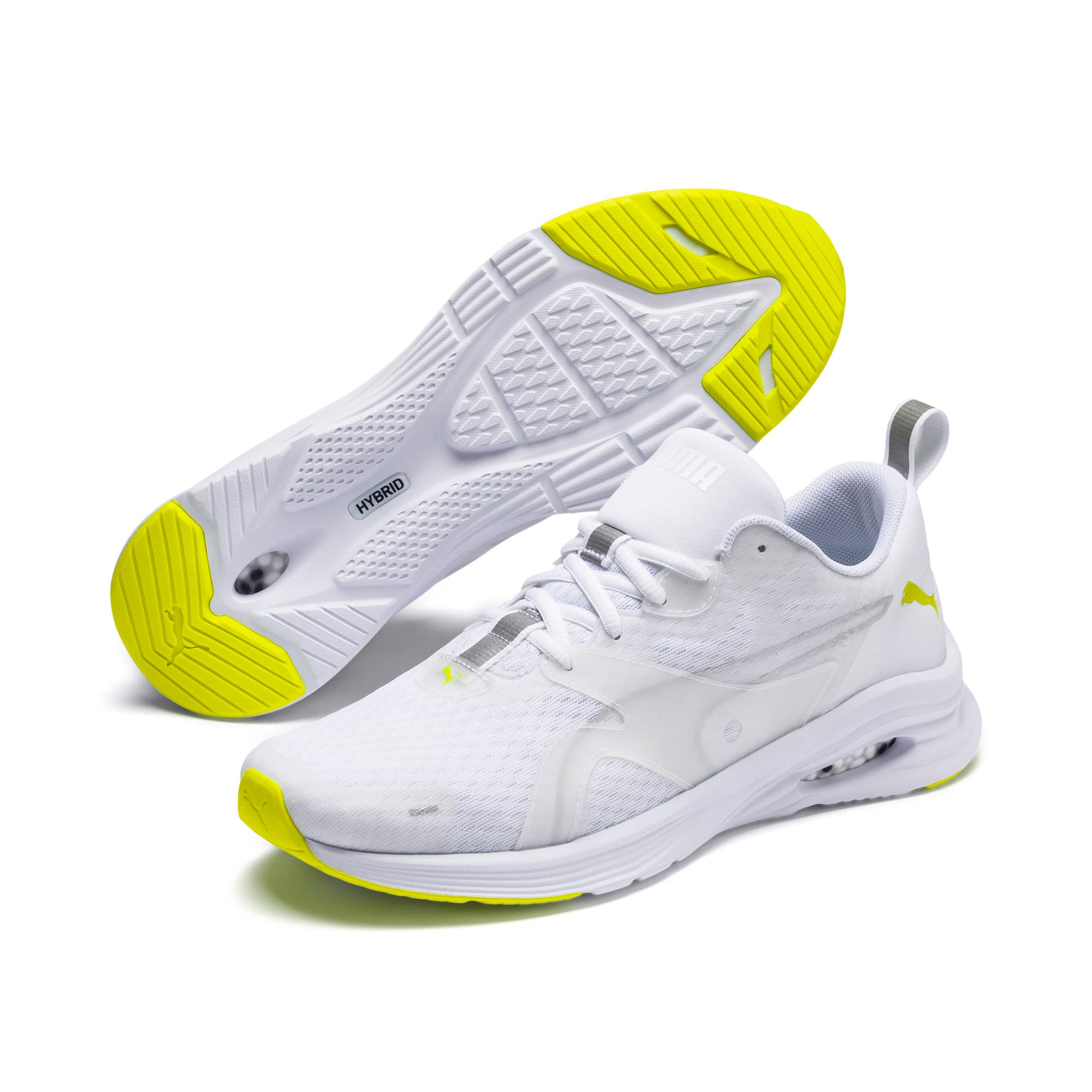 Thumbnail 3 of HYBRID Fuego Men's Running Shoes, Puma White-Yellow Alert, medium